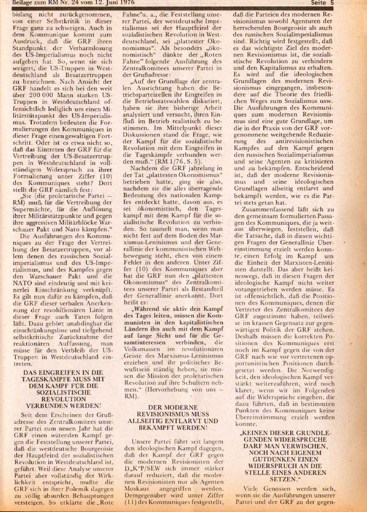 Roter Morgen, 10. Jg., 12. Juni 1976, Beilage: Zum Kommumique, Seite 5