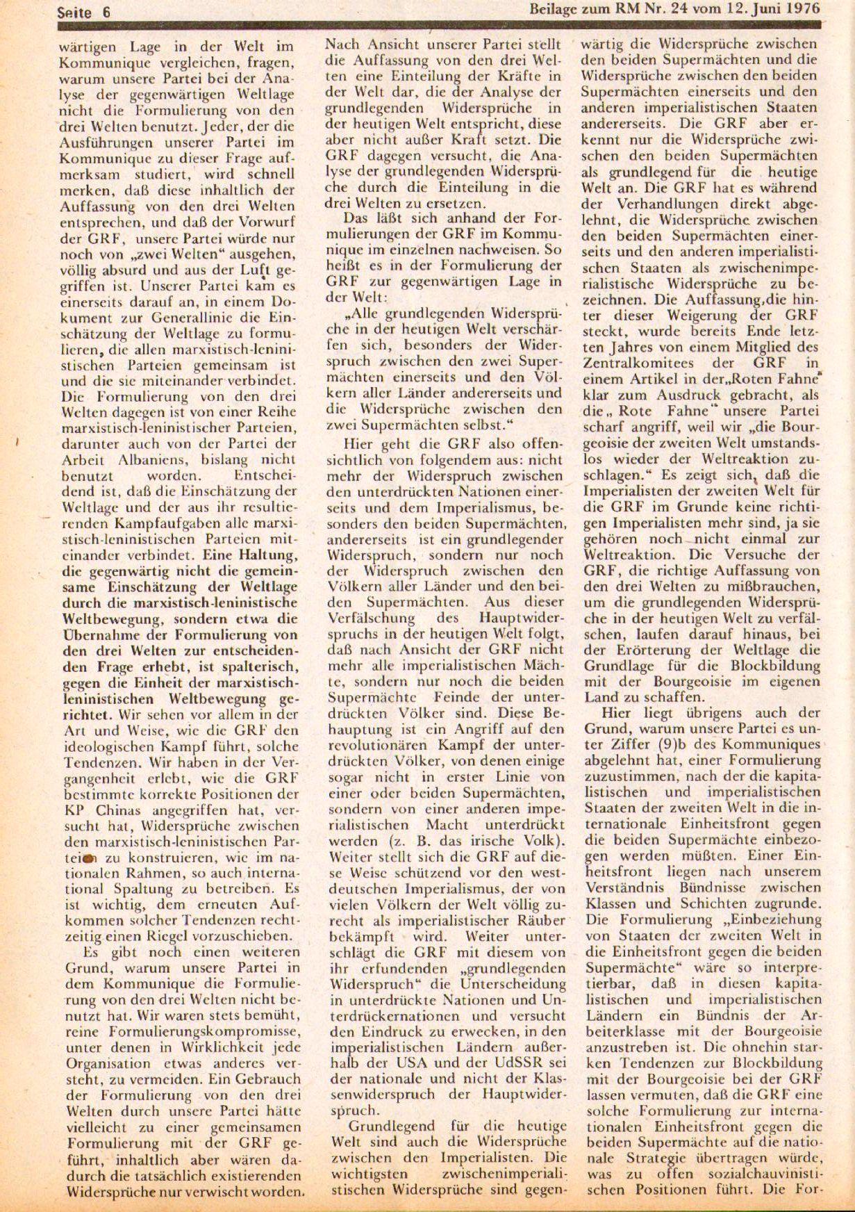Roter Morgen, 10. Jg., 12. Juni 1976, Beilage: Zum Kommumique, Seite 6