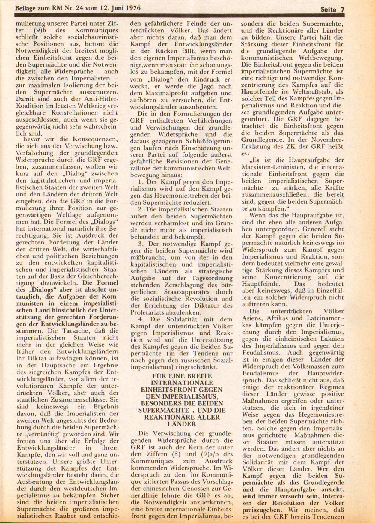 Roter Morgen, 10. Jg., 12. Juni 1976, Beilage: Zum Kommumique, Seite 7