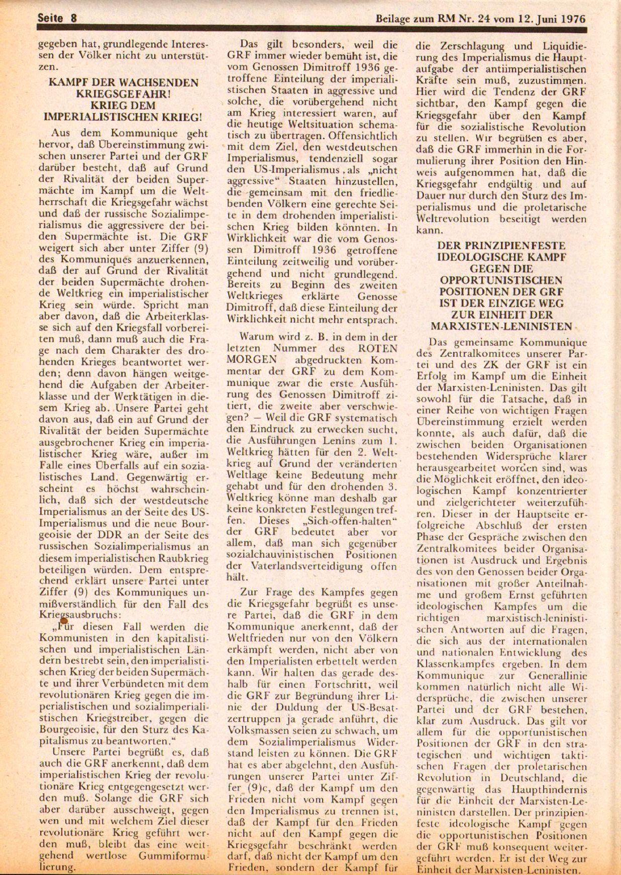 Roter Morgen, 10. Jg., 12. Juni 1976, Beilage: Zum Kommumique, Seite 8