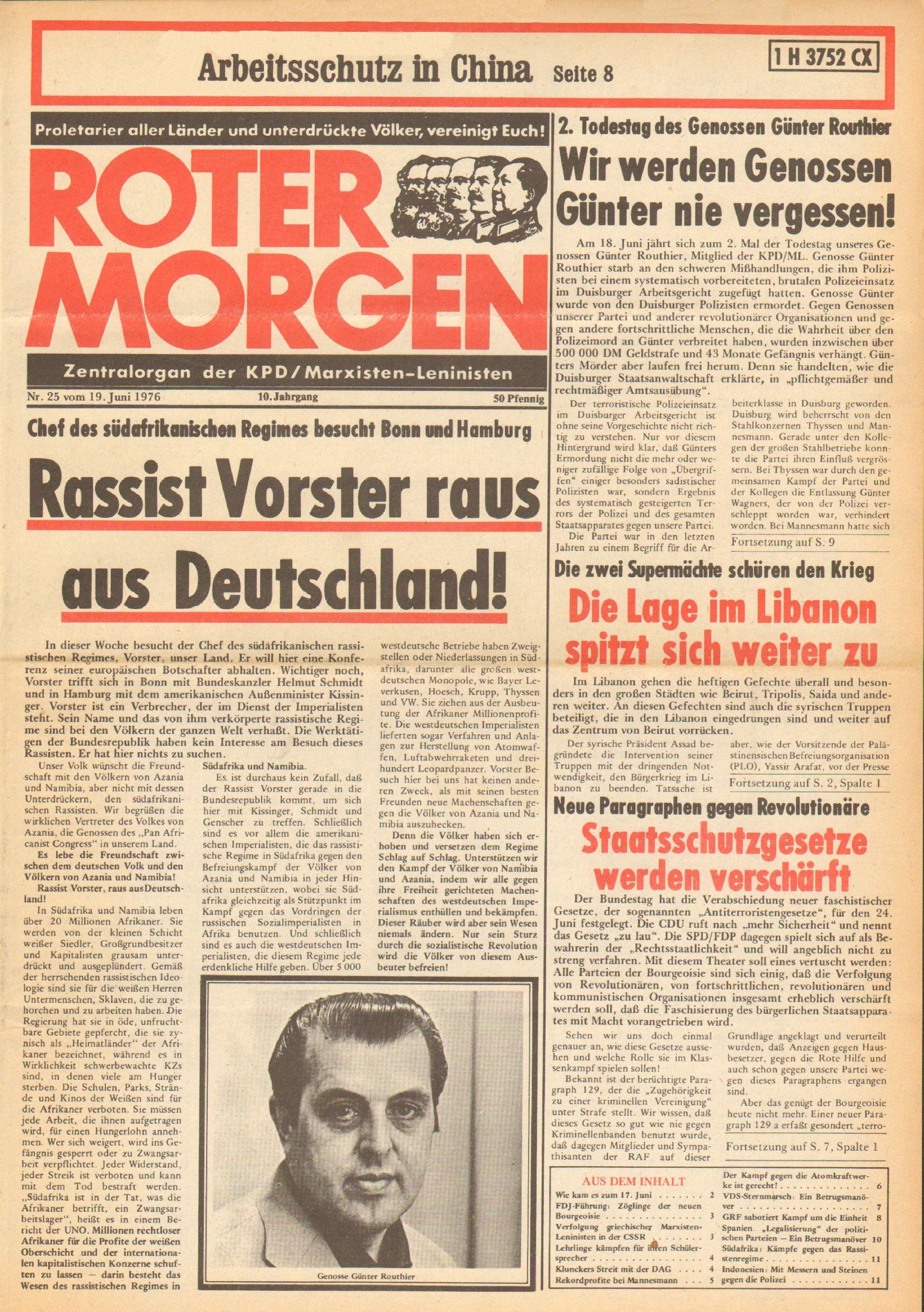 Roter Morgen, 10. Jg., 19. Juni 1976, Nr. 25, Seite 1