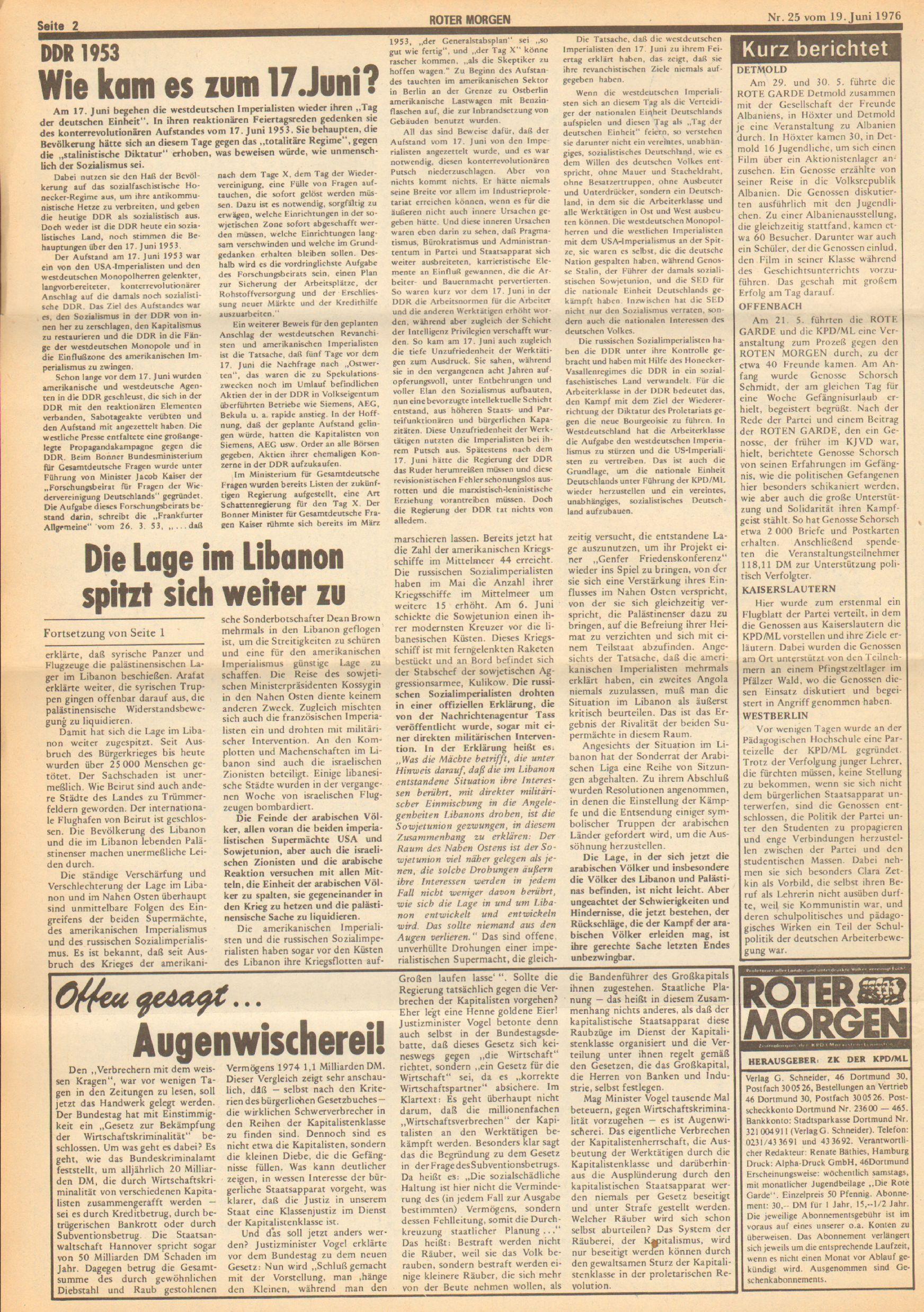Roter Morgen, 10. Jg., 19. Juni 1976, Nr. 25, Seite 2