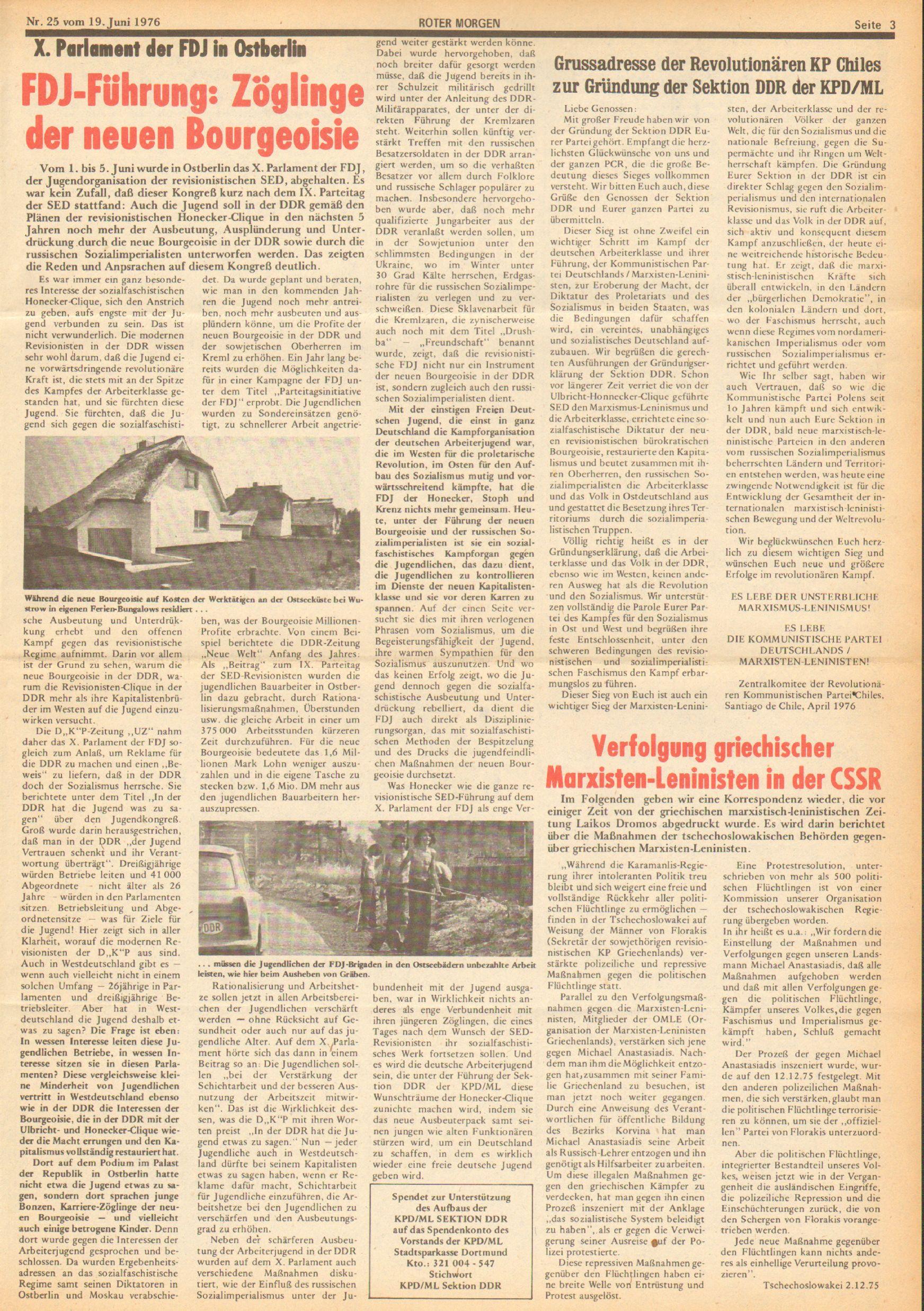 Roter Morgen, 10. Jg., 19. Juni 1976, Nr. 25, Seite 3