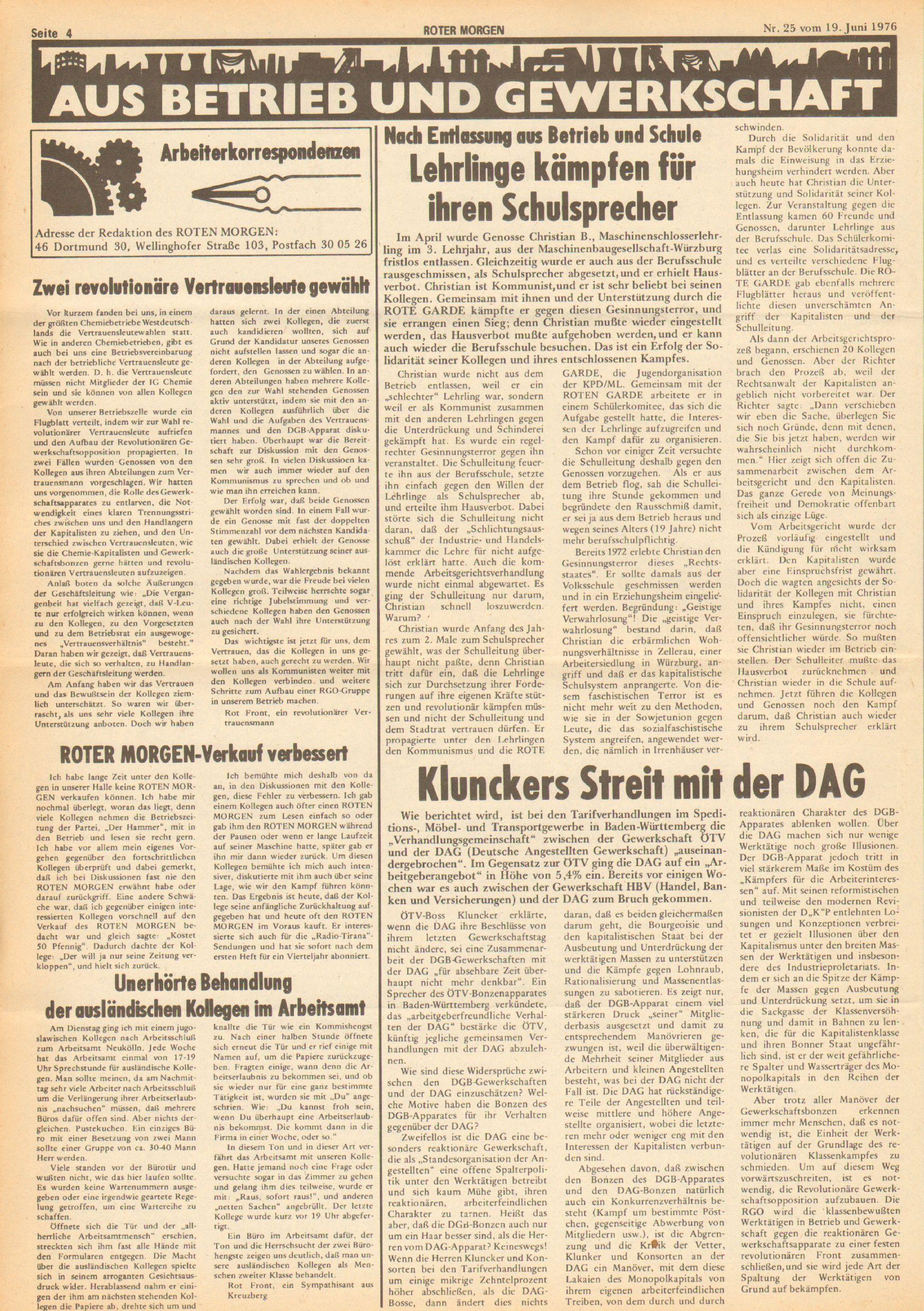 Roter Morgen, 10. Jg., 19. Juni 1976, Nr. 25, Seite 4