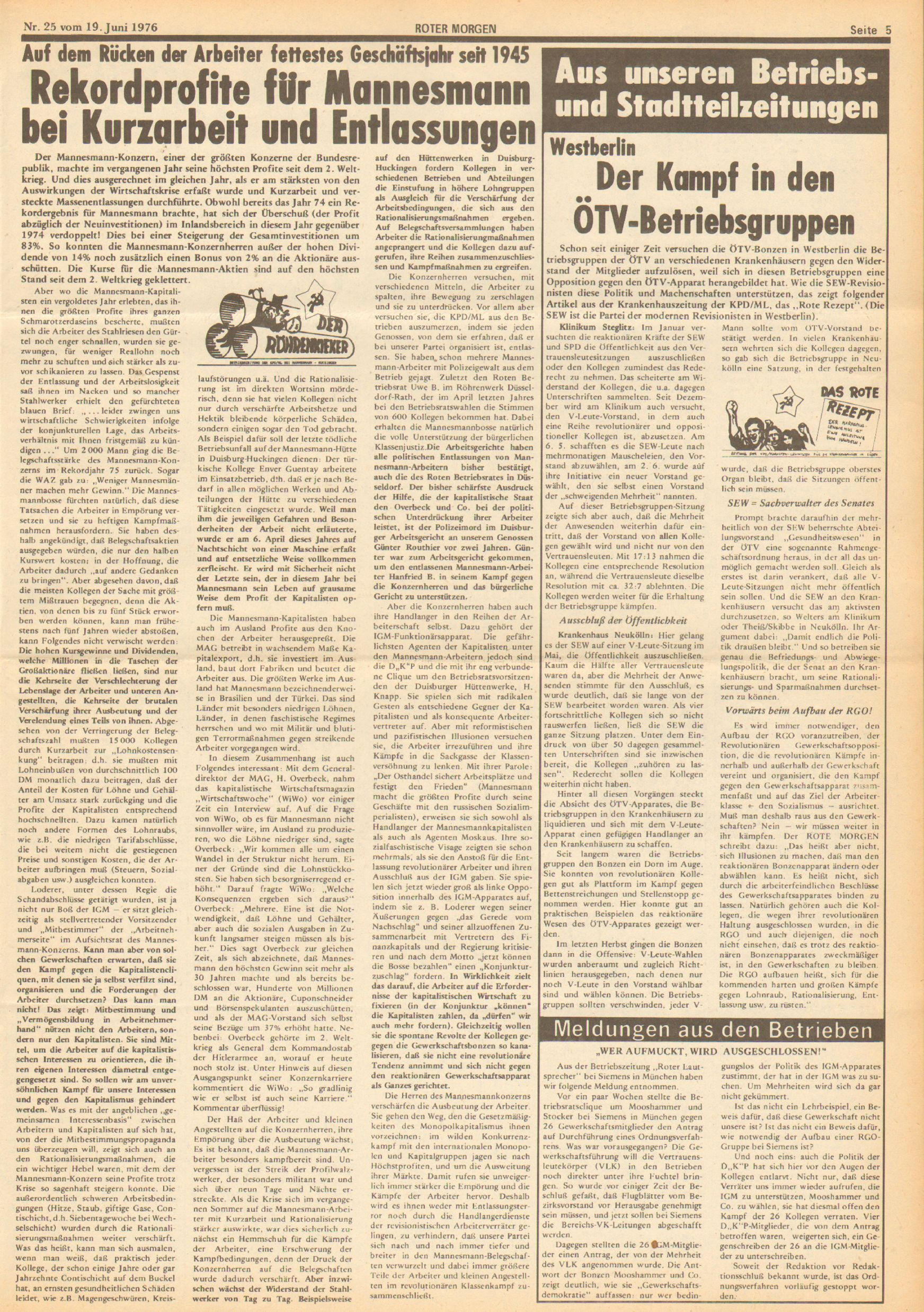 Roter Morgen, 10. Jg., 19. Juni 1976, Nr. 25, Seite 5