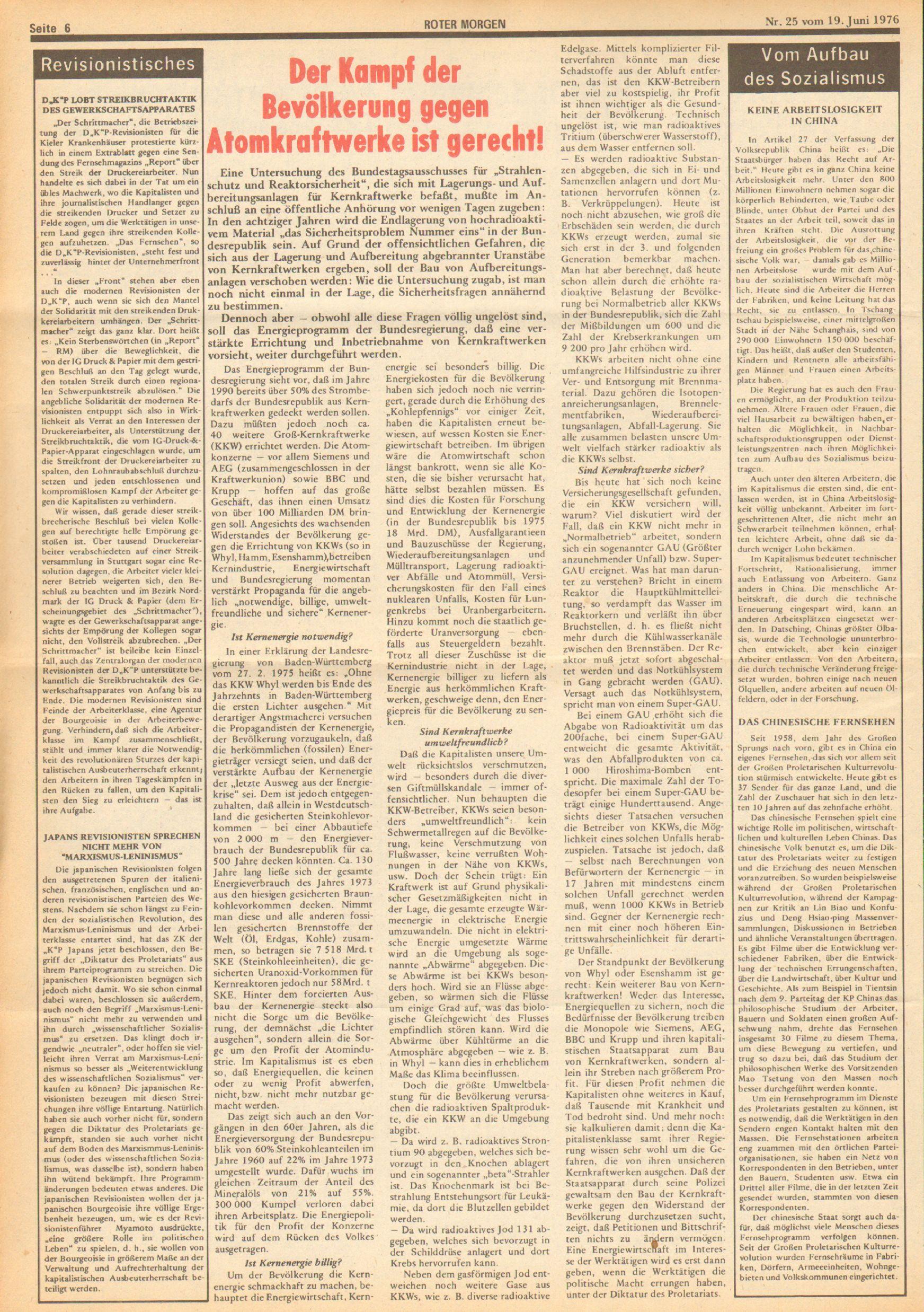 Roter Morgen, 10. Jg., 19. Juni 1976, Nr. 25, Seite 6