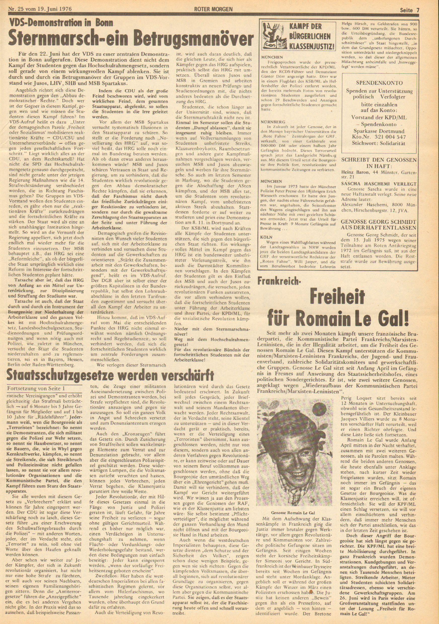 Roter Morgen, 10. Jg., 19. Juni 1976, Nr. 25, Seite 7