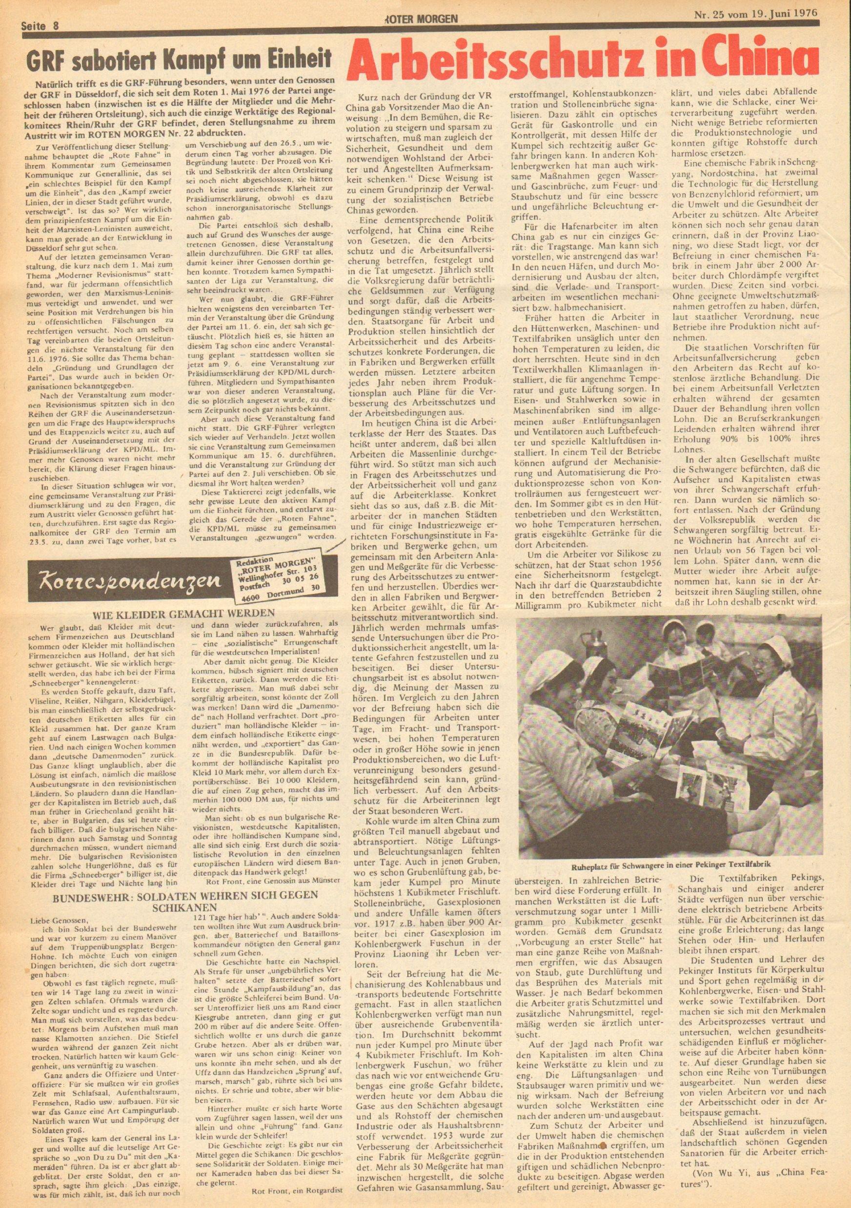 Roter Morgen, 10. Jg., 19. Juni 1976, Nr. 25, Seite 8