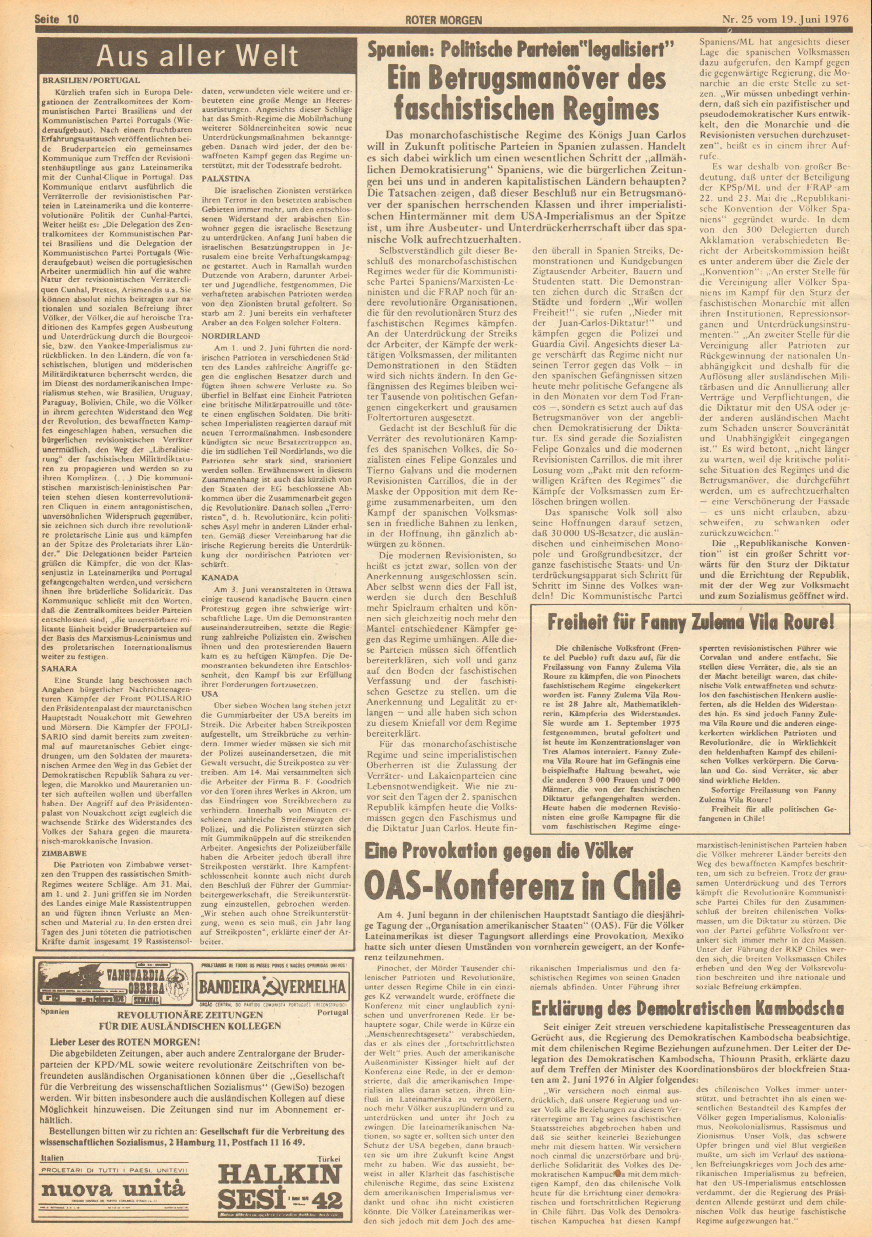 Roter Morgen, 10. Jg., 19. Juni 1976, Nr. 25, Seite 10