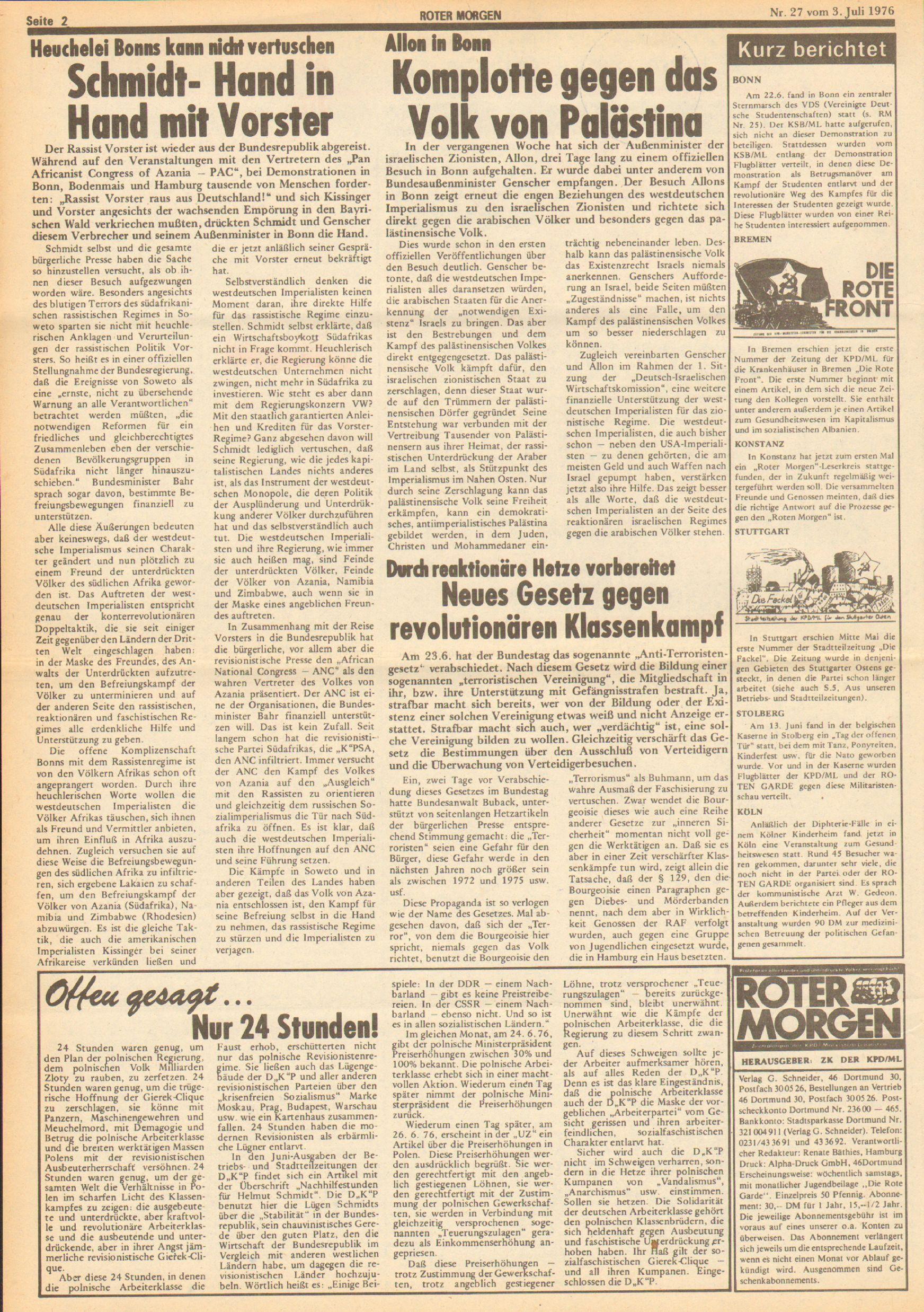 Roter Morgen, 10. Jg., 3. Juli 1976, Nr. 27, Seite 2