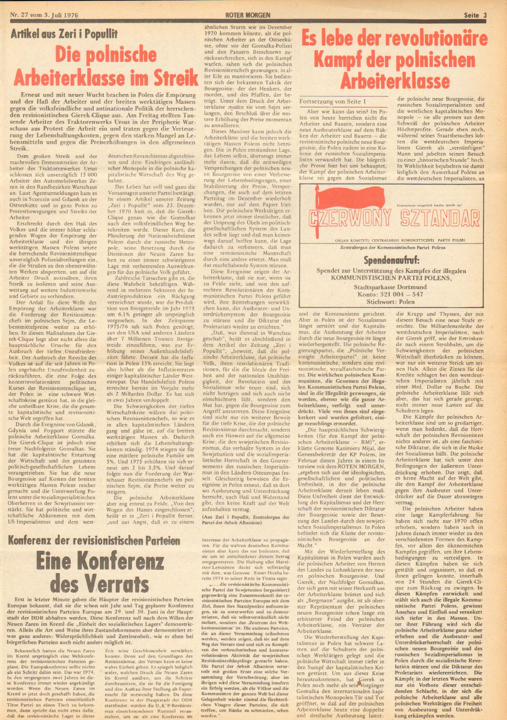 Roter Morgen, 10. Jg., 3. Juli 1976, Nr. 27, Seite 3