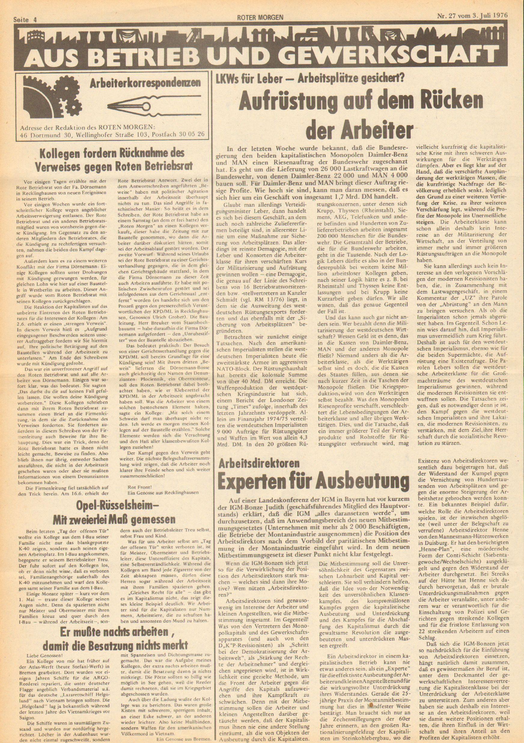 Roter Morgen, 10. Jg., 3. Juli 1976, Nr. 27, Seite 4