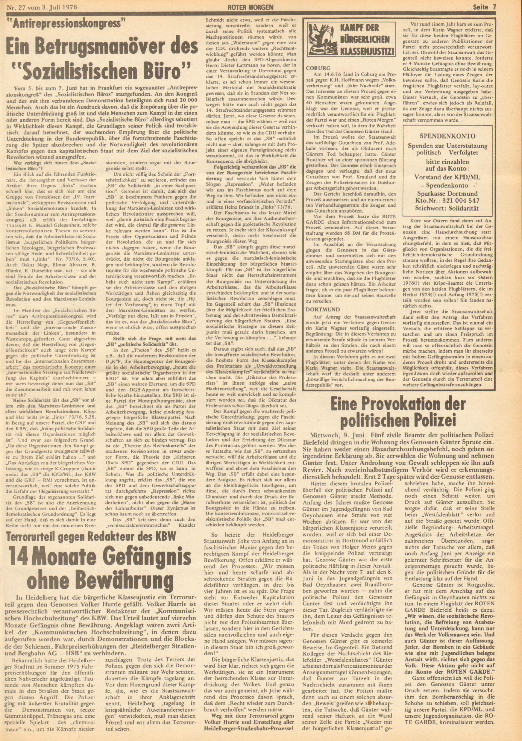 Roter Morgen, 10. Jg., 3. Juli 1976, Nr. 27, Seite 7