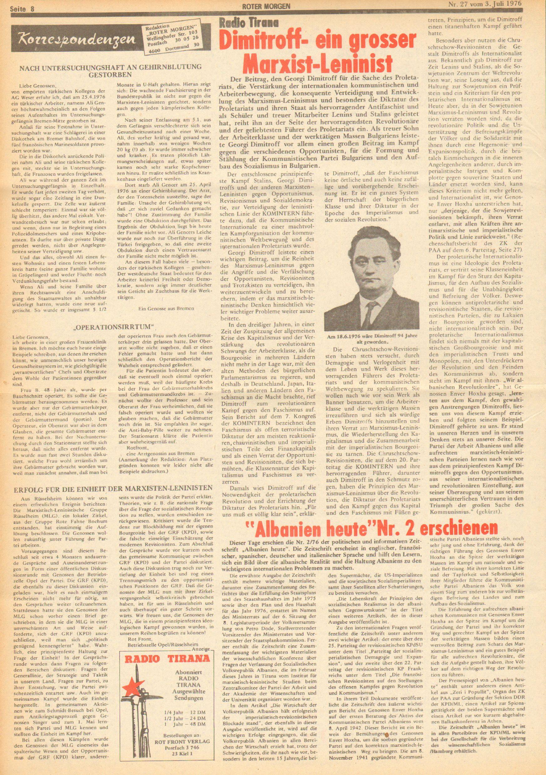 Roter Morgen, 10. Jg., 3. Juli 1976, Nr. 27, Seite 8