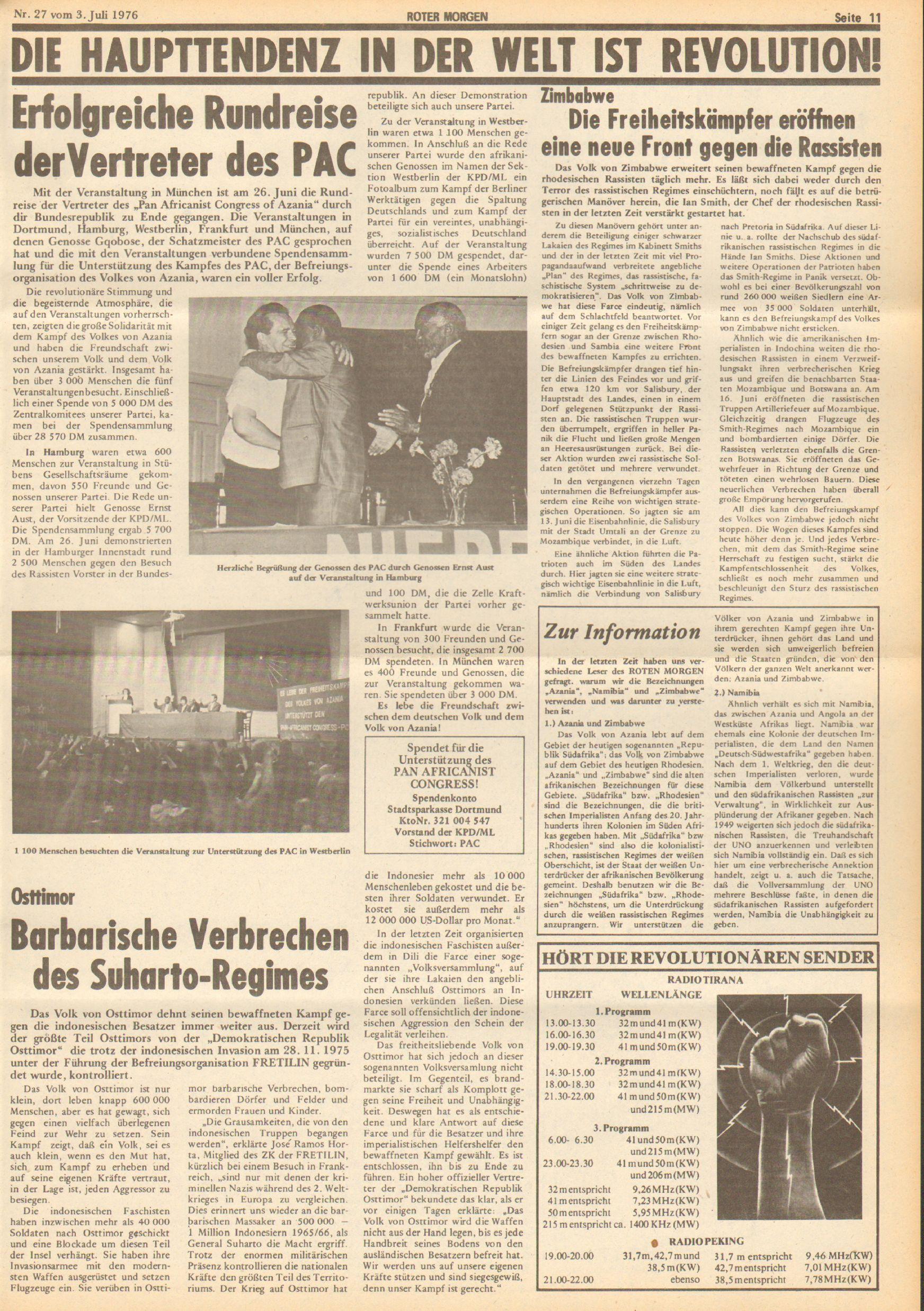 Roter Morgen, 10. Jg., 3. Juli 1976, Nr. 27, Seite 11