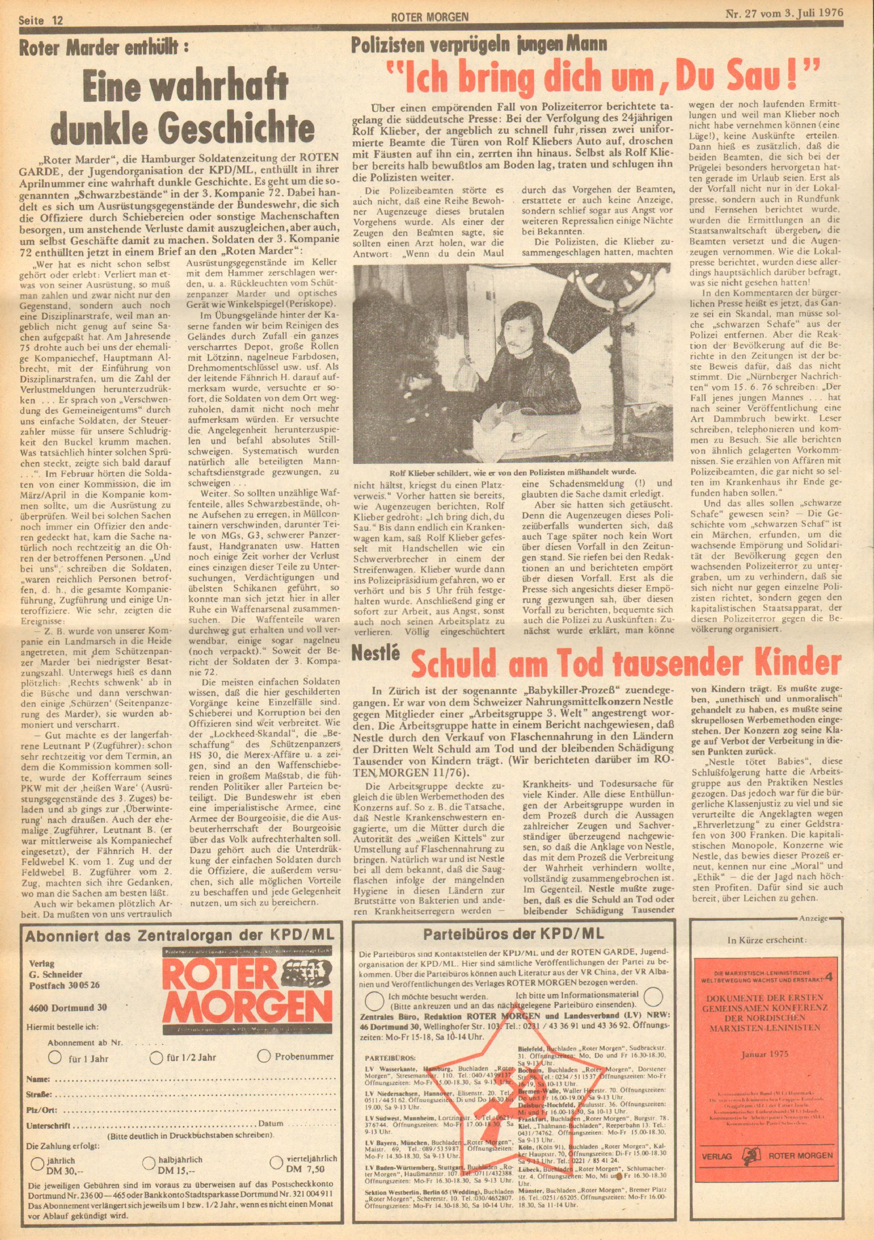 Roter Morgen, 10. Jg., 3. Juli 1976, Nr. 27, Seite 12