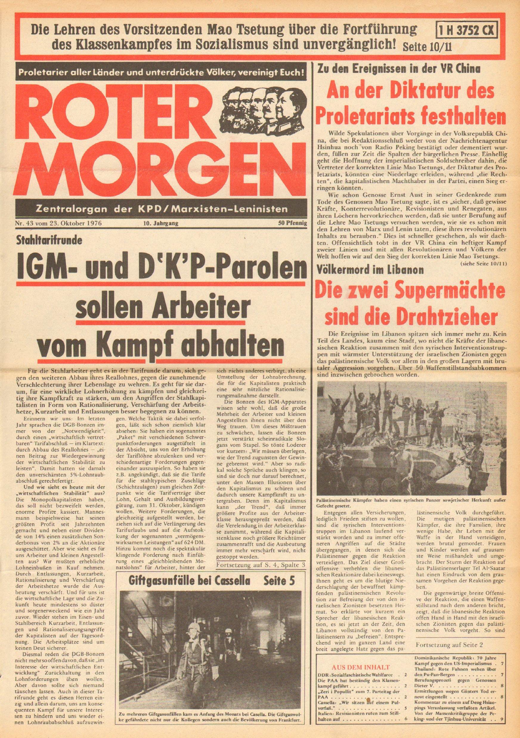 Roter Morgen, 10. Jg., 23. Oktober 1976, Nr. 43, Seite 1