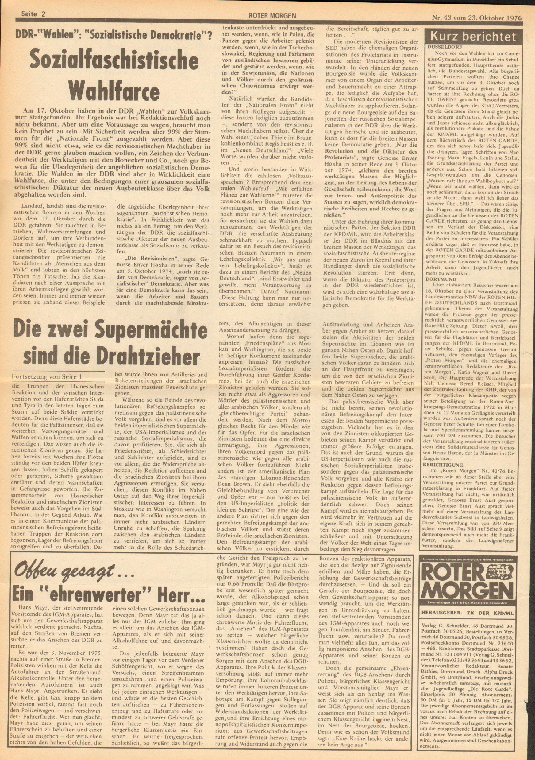 Roter Morgen, 10. Jg., 23. Oktober 1976, Nr. 43, Seite 2