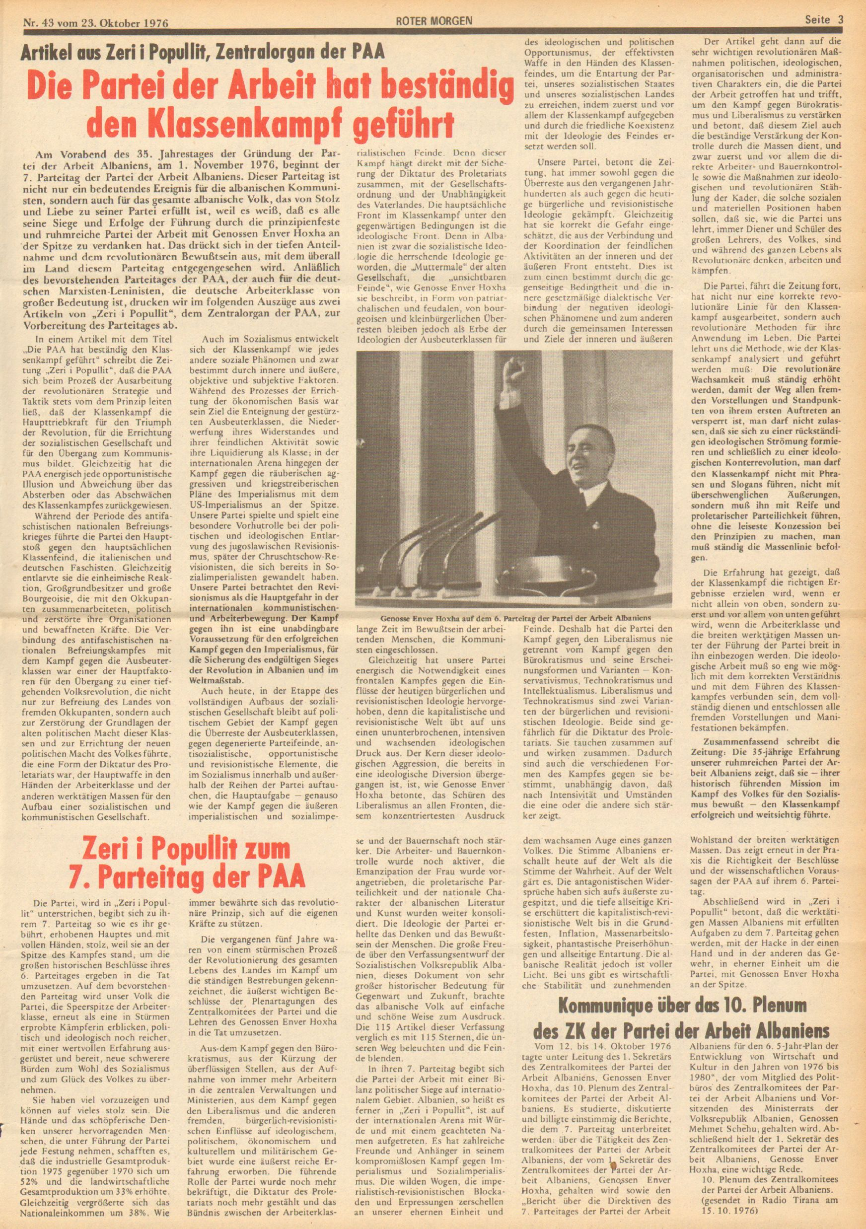 Roter Morgen, 10. Jg., 23. Oktober 1976, Nr. 43, Seite 3