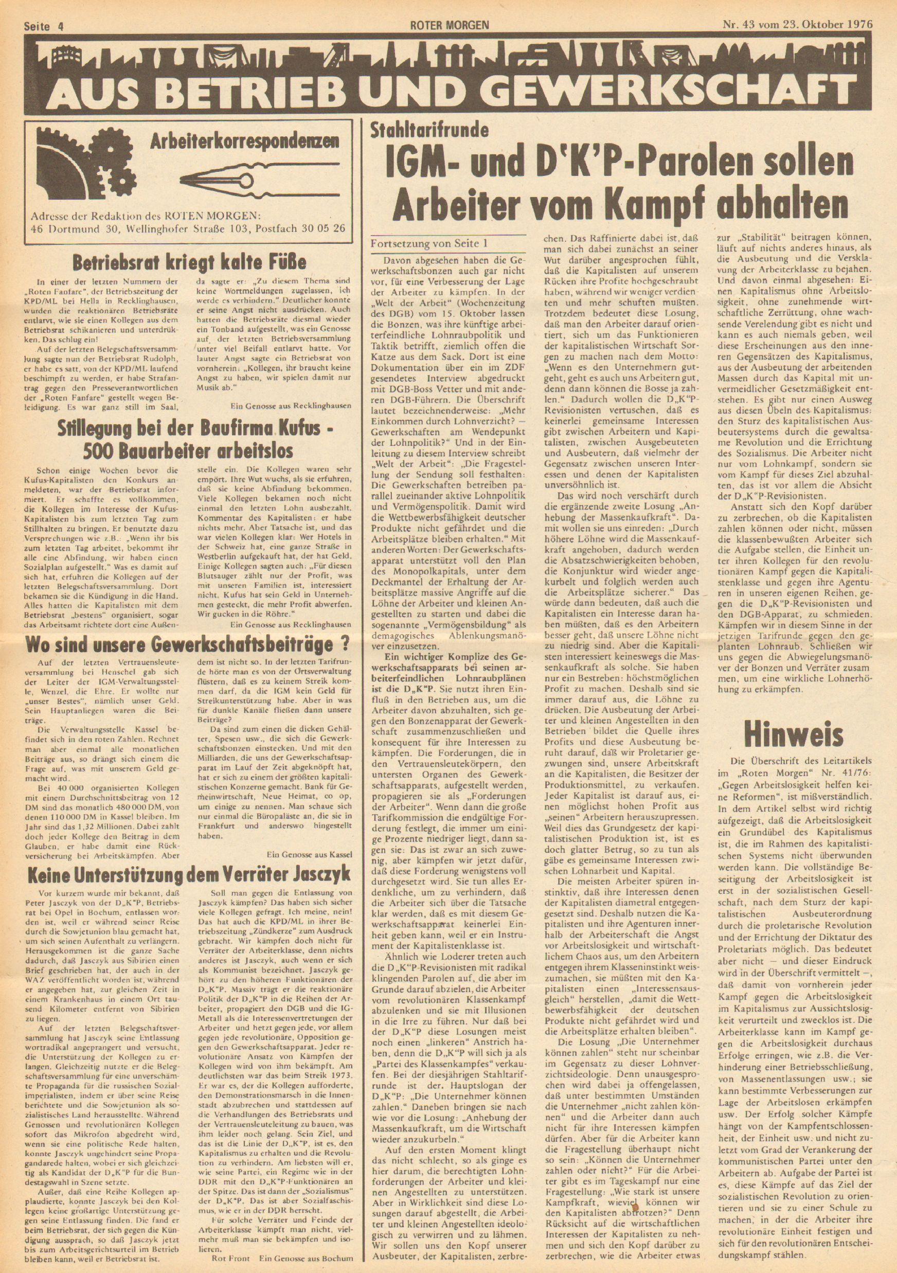 Roter Morgen, 10. Jg., 23. Oktober 1976, Nr. 43, Seite 4
