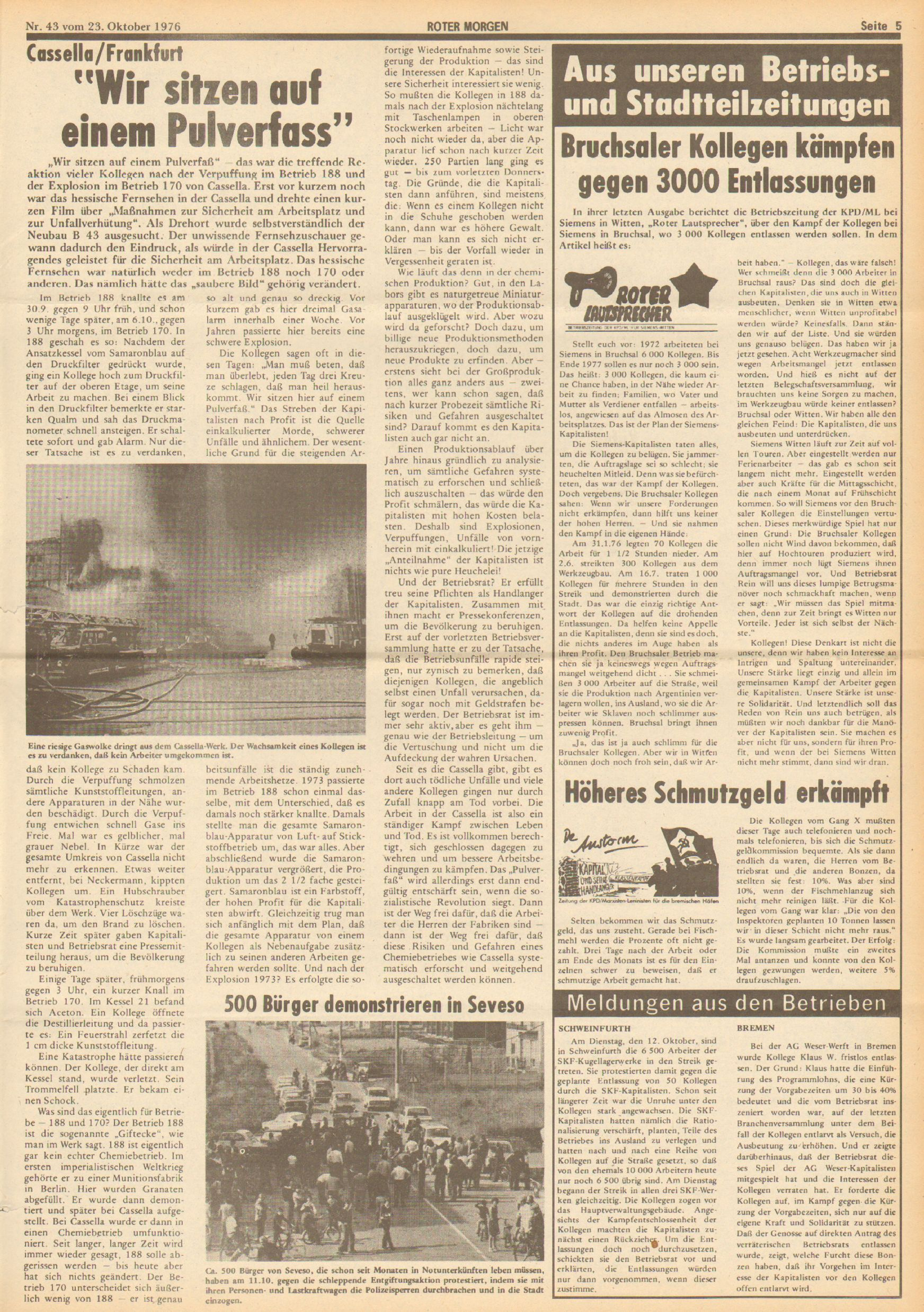 Roter Morgen, 10. Jg., 23. Oktober 1976, Nr. 43, Seite 5
