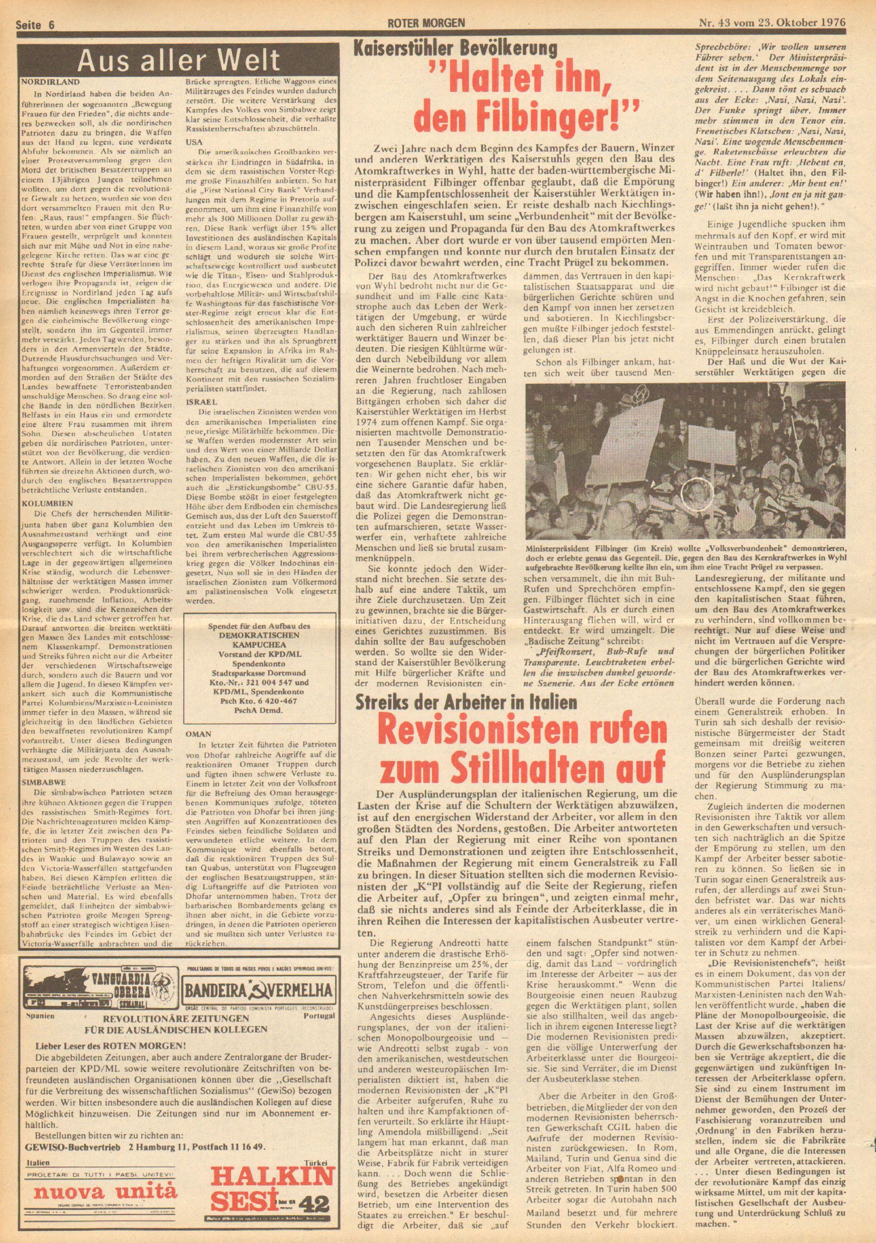 Roter Morgen, 10. Jg., 23. Oktober 1976, Nr. 43, Seite 6