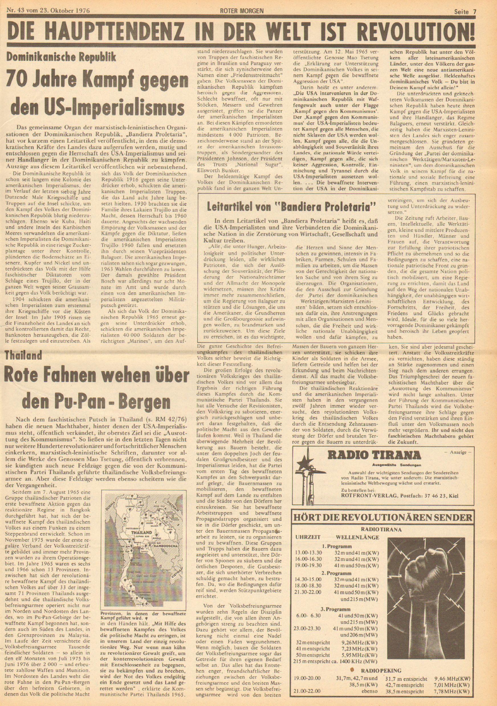 Roter Morgen, 10. Jg., 23. Oktober 1976, Nr. 43, Seite 7