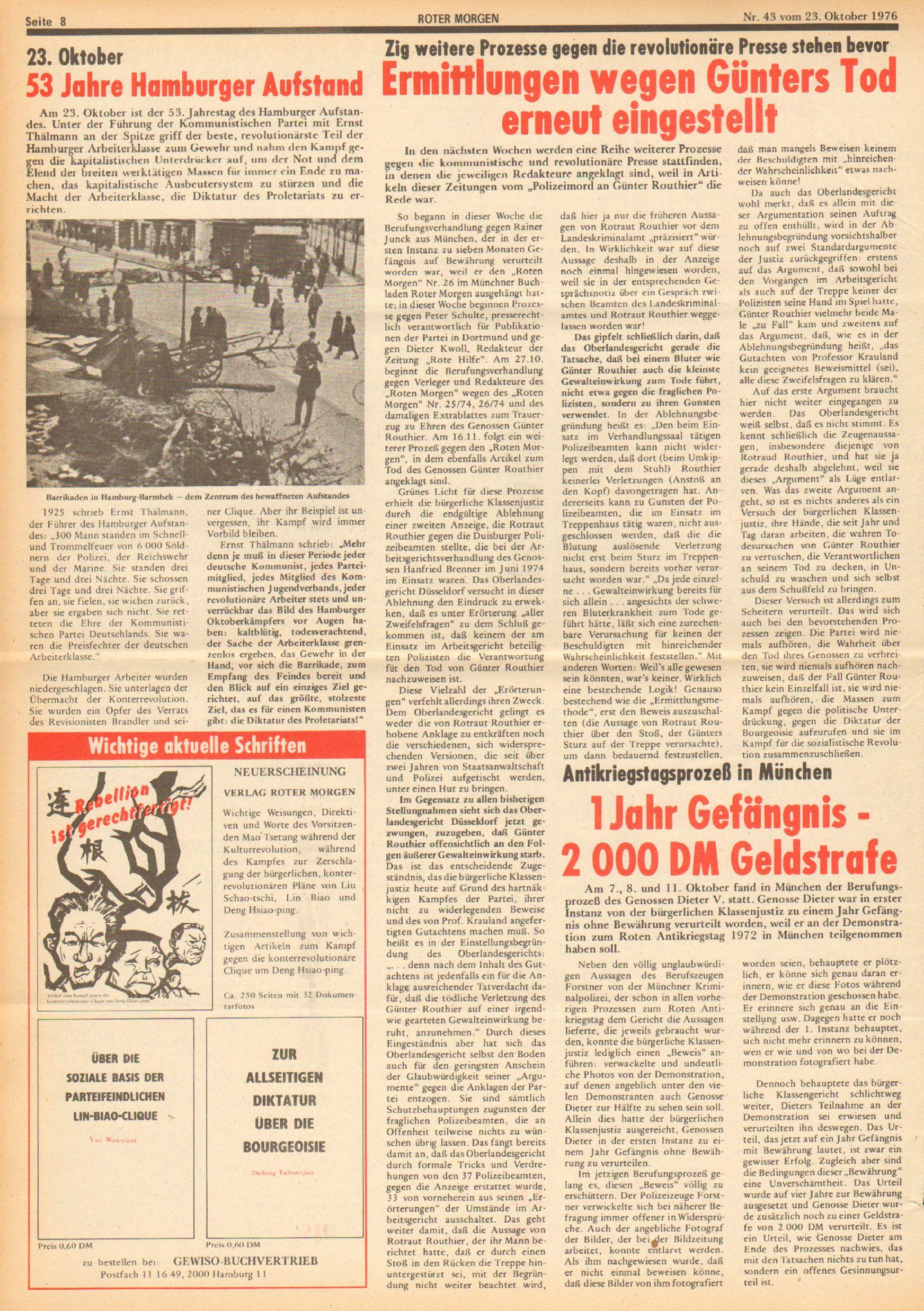 Roter Morgen, 10. Jg., 23. Oktober 1976, Nr. 43, Seite 8