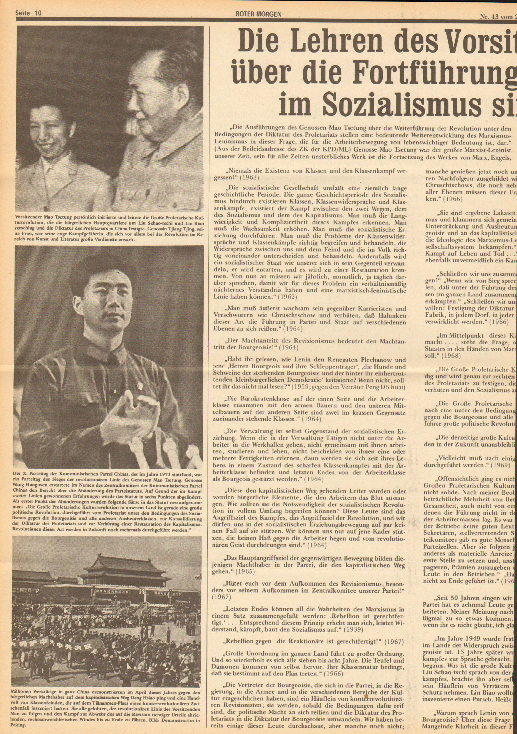 Roter Morgen, 10. Jg., 23. Oktober 1976, Nr. 43, Seite 10