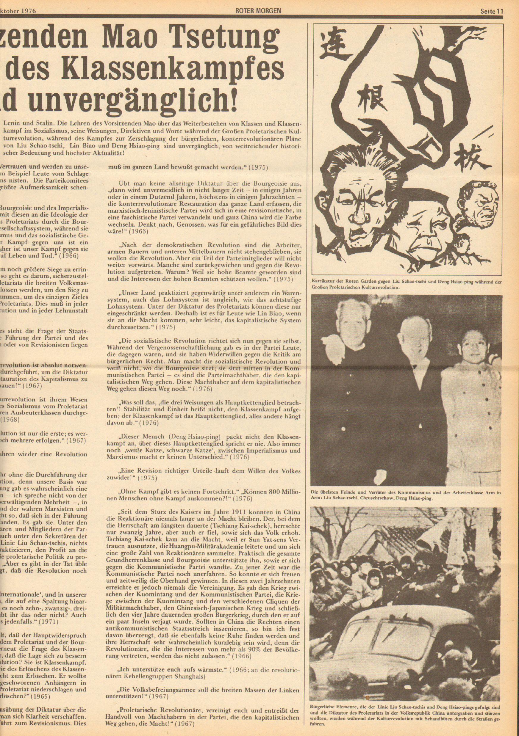 Roter Morgen, 10. Jg., 23. Oktober 1976, Nr. 43, Seite 11