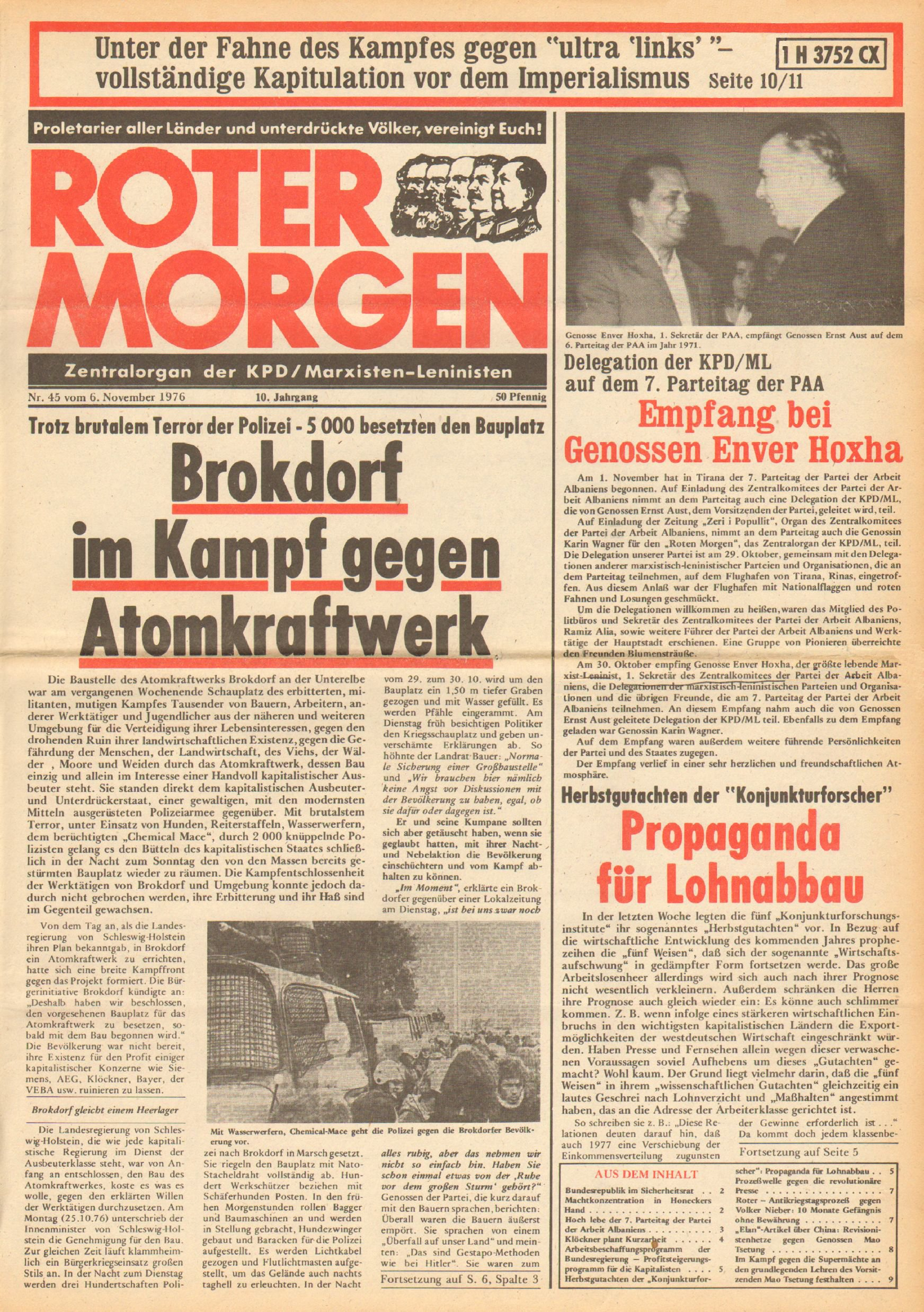 Roter Morgen, 10. Jg., 6. November 1976, Nr. 45, Seite 1