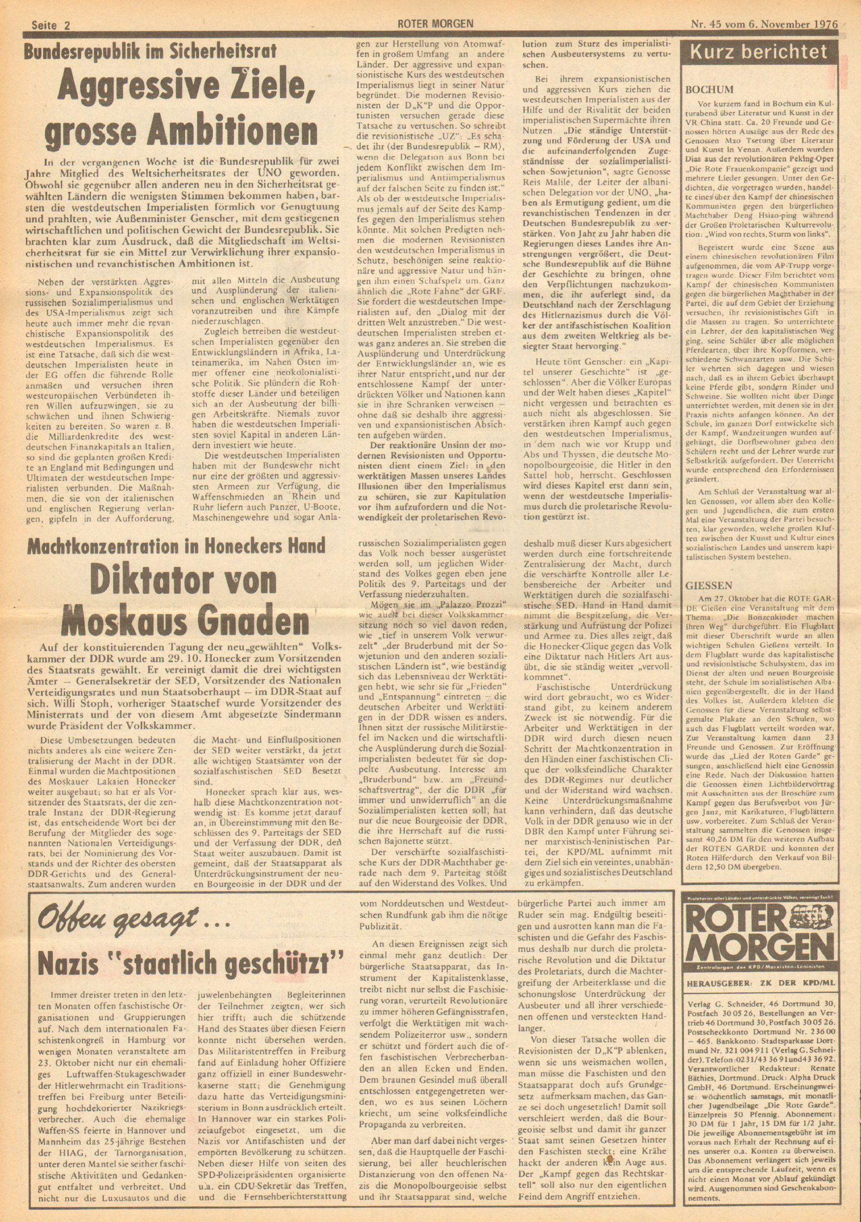 Roter Morgen, 10. Jg., 6. November 1976, Nr. 45, Seite 2