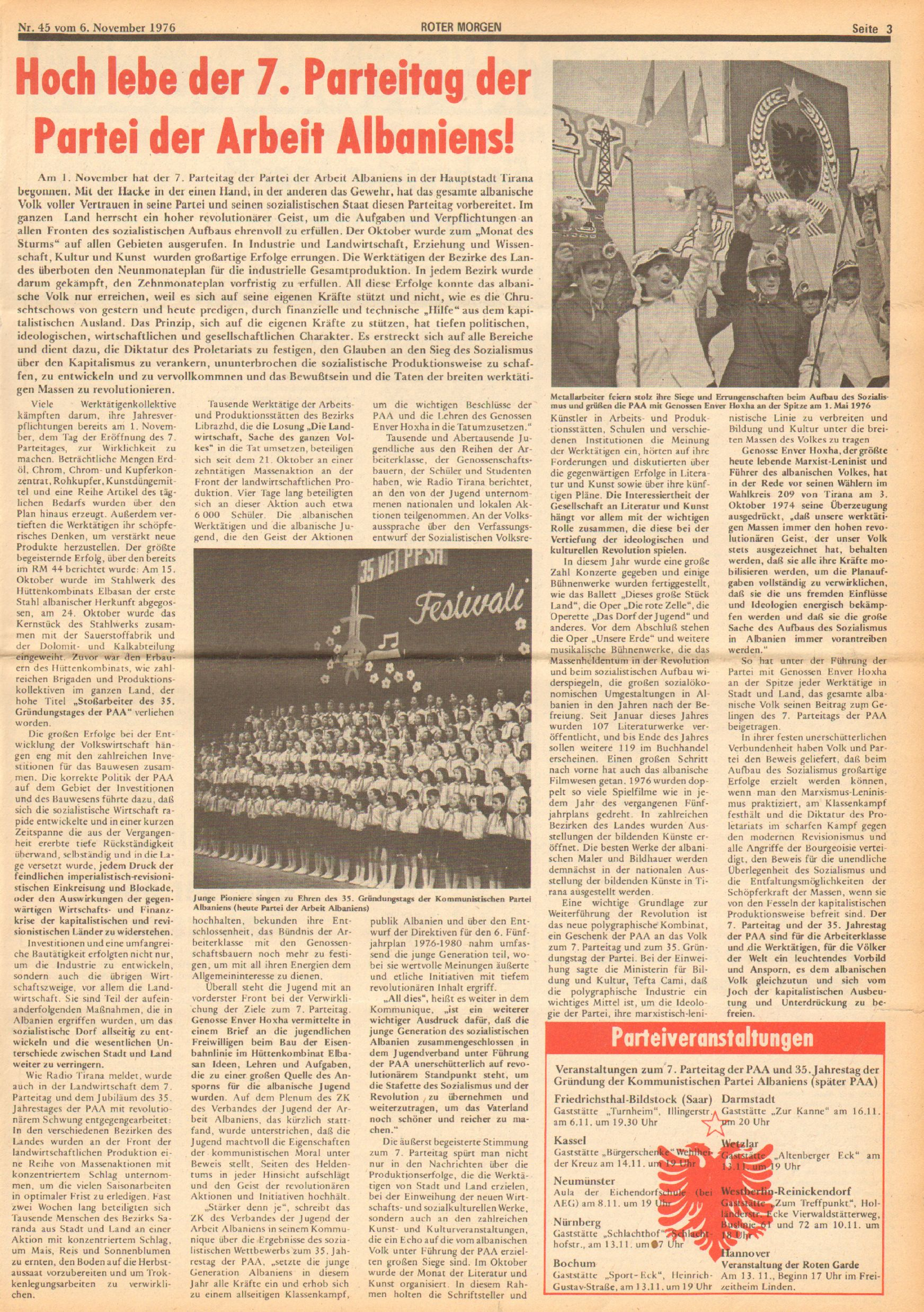 Roter Morgen, 10. Jg., 6. November 1976, Nr. 45, Seite 3