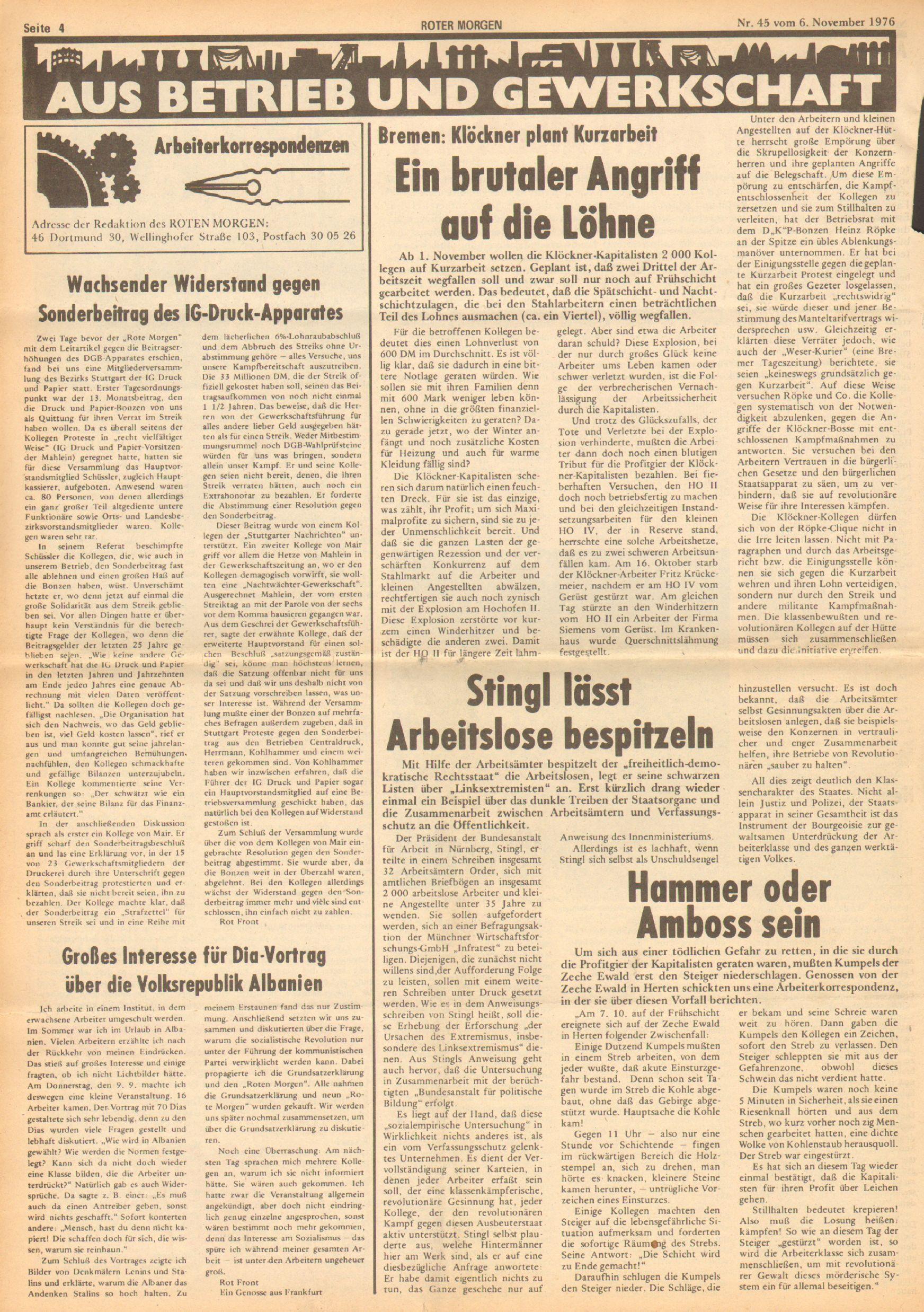 Roter Morgen, 10. Jg., 6. November 1976, Nr. 45, Seite 4
