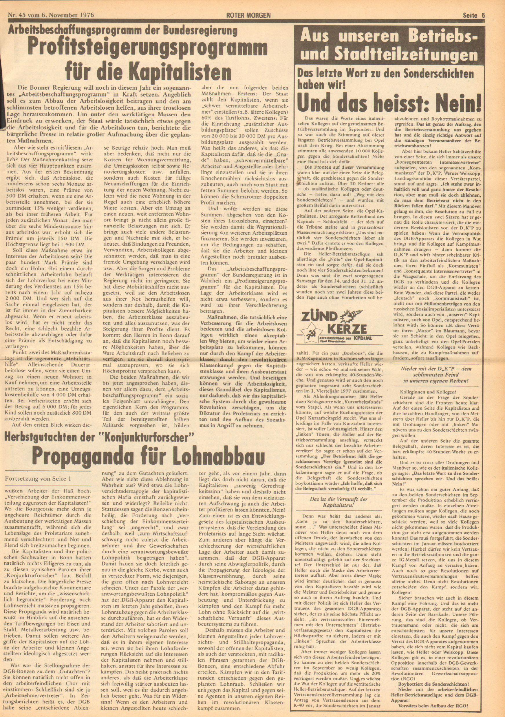 Roter Morgen, 10. Jg., 6. November 1976, Nr. 45, Seite 5