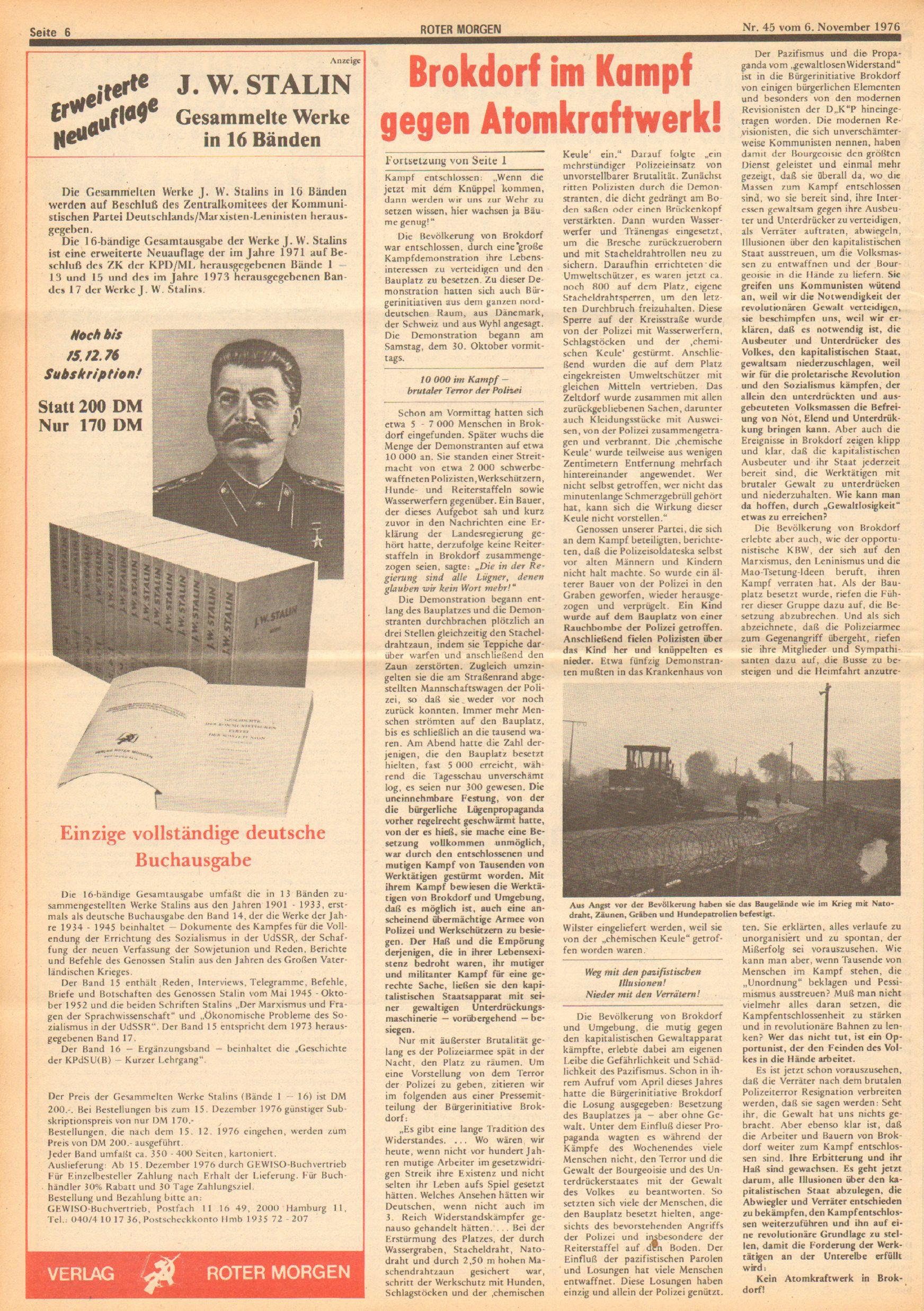 Roter Morgen, 10. Jg., 6. November 1976, Nr. 45, Seite 6