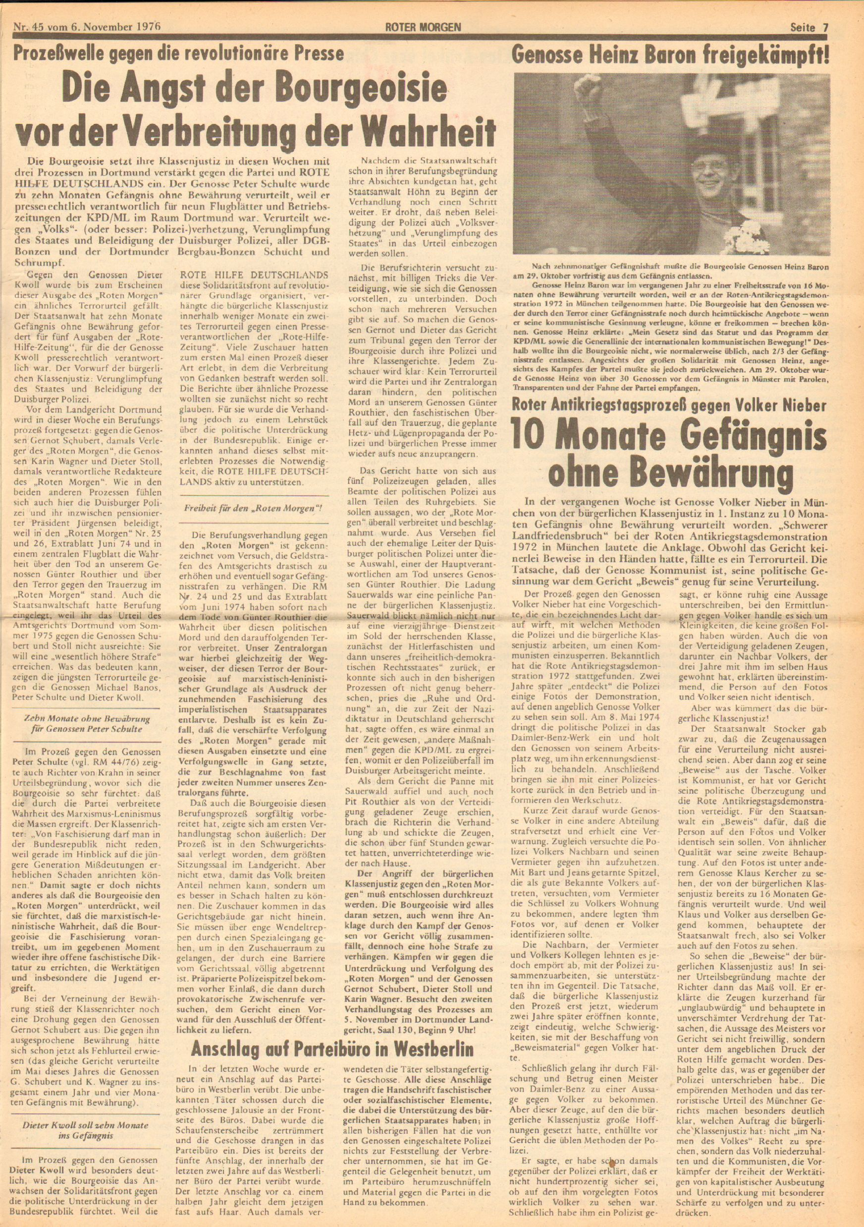 Roter Morgen, 10. Jg., 6. November 1976, Nr. 45, Seite 7