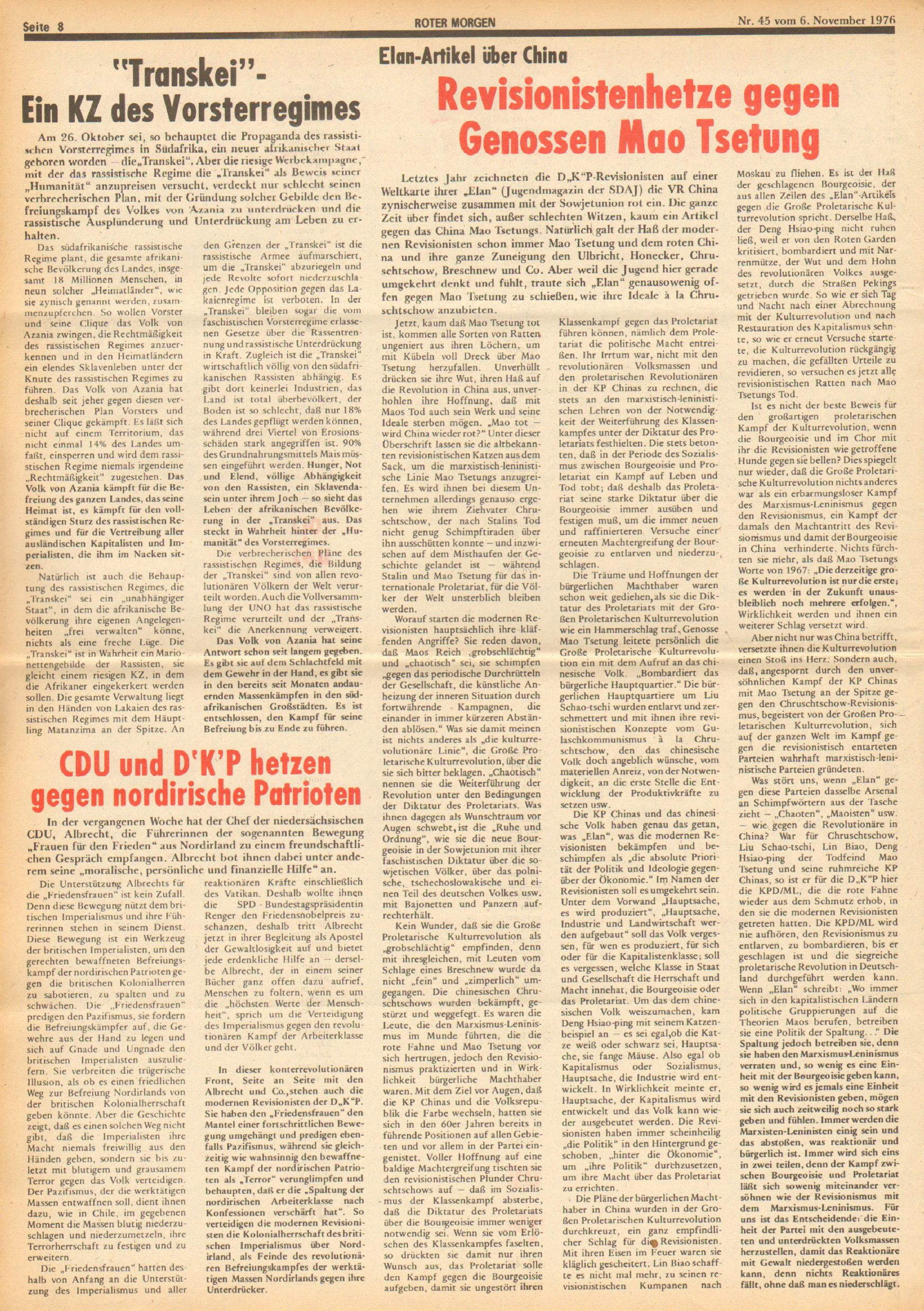 Roter Morgen, 10. Jg., 6. November 1976, Nr. 45, Seite 8