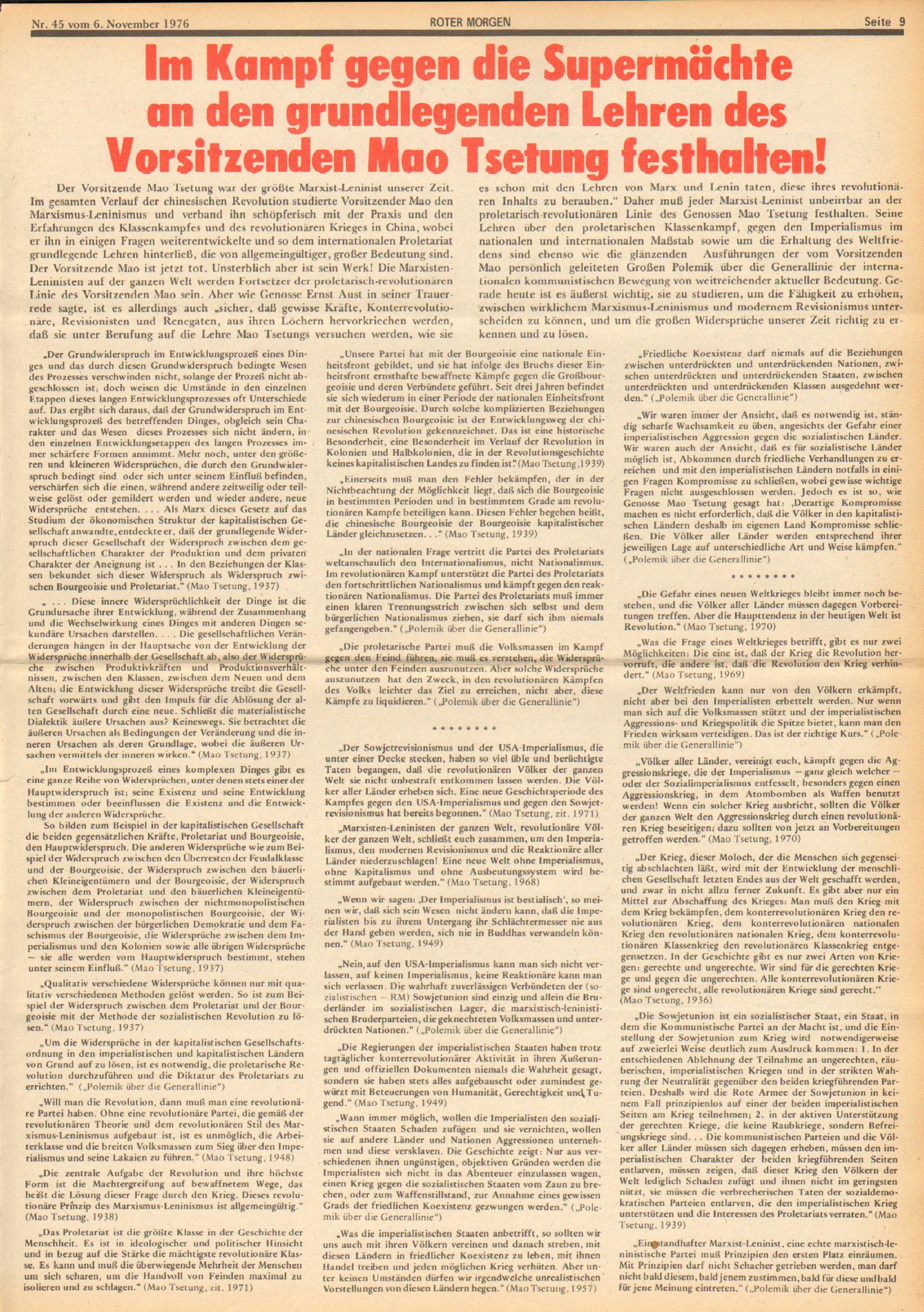 Roter Morgen, 10. Jg., 6. November 1976, Nr. 45, Seite 9