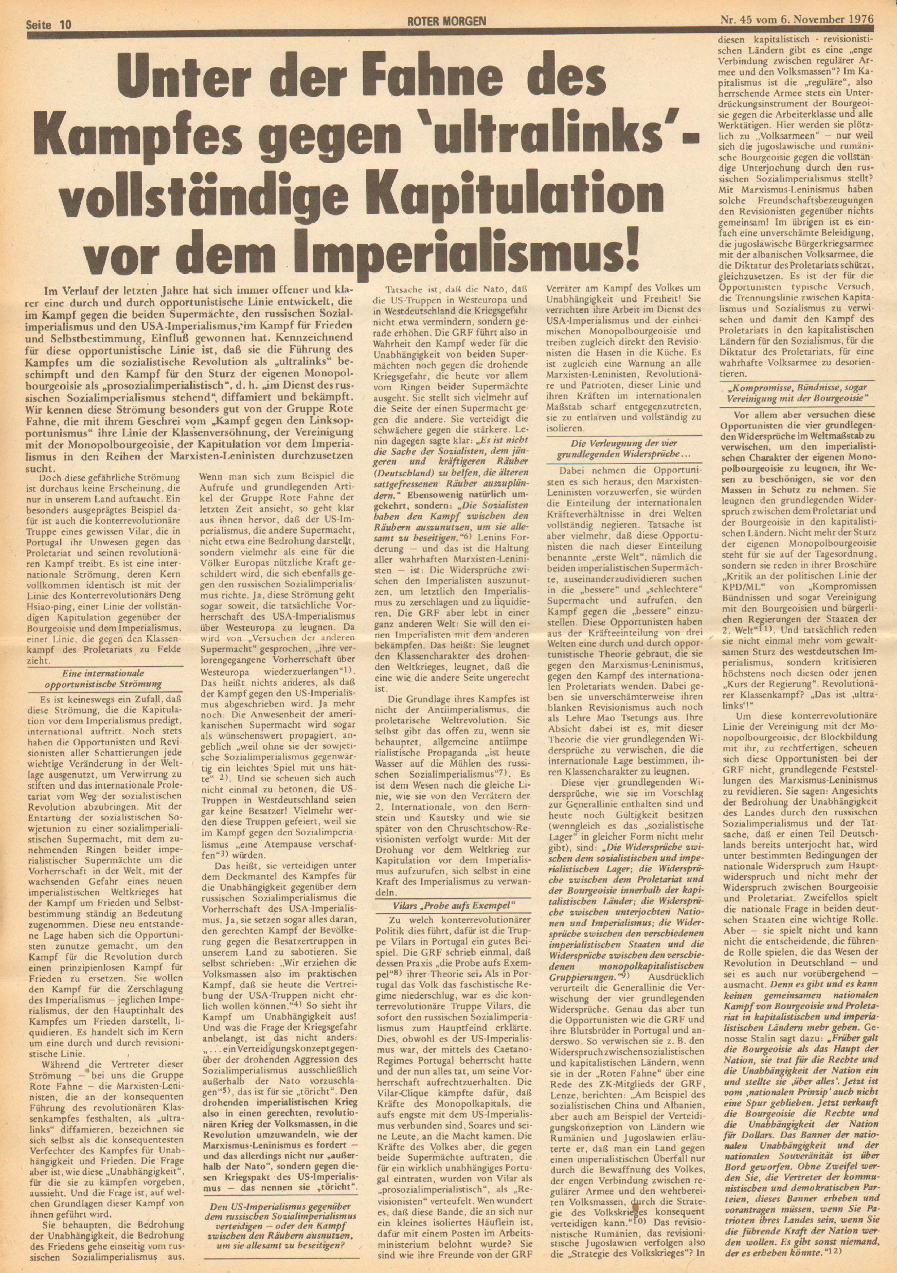 Roter Morgen, 10. Jg., 6. November 1976, Nr. 45, Seite 10
