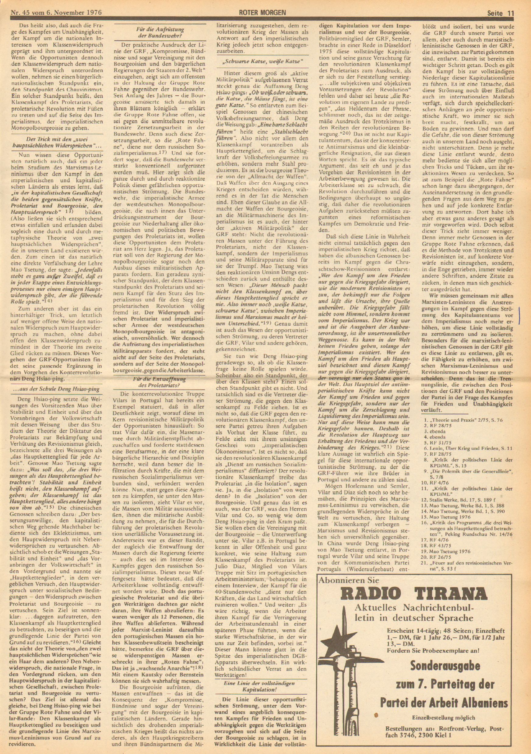 Roter Morgen, 10. Jg., 6. November 1976, Nr. 45, Seite 11