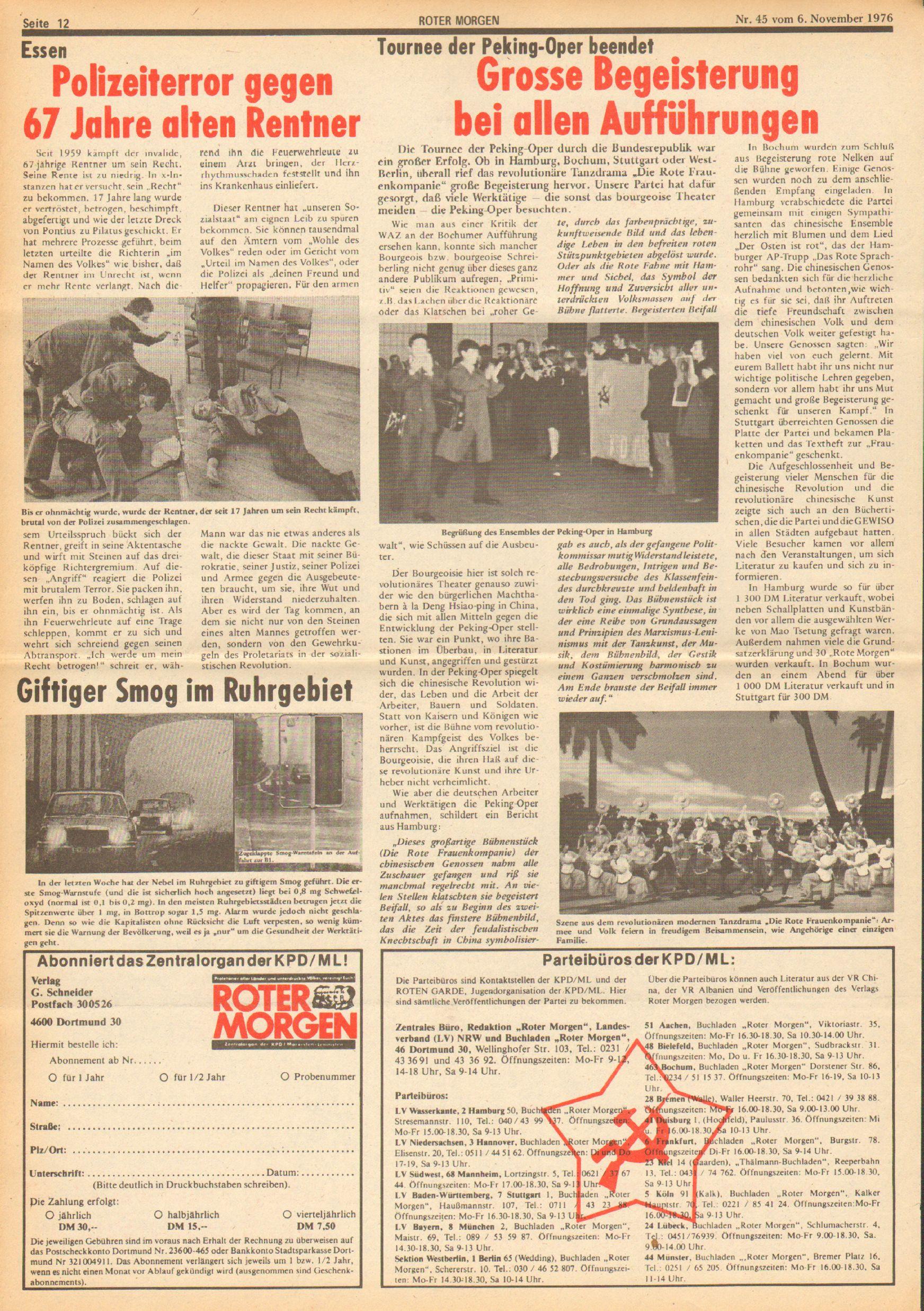 Roter Morgen, 10. Jg., 6. November 1976, Nr. 45, Seite 12