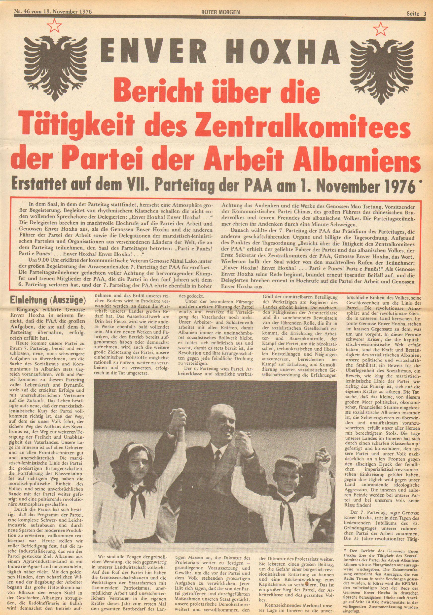 Roter Morgen, 10. Jg., 13. November 1976, Nr. 46, Seite 3