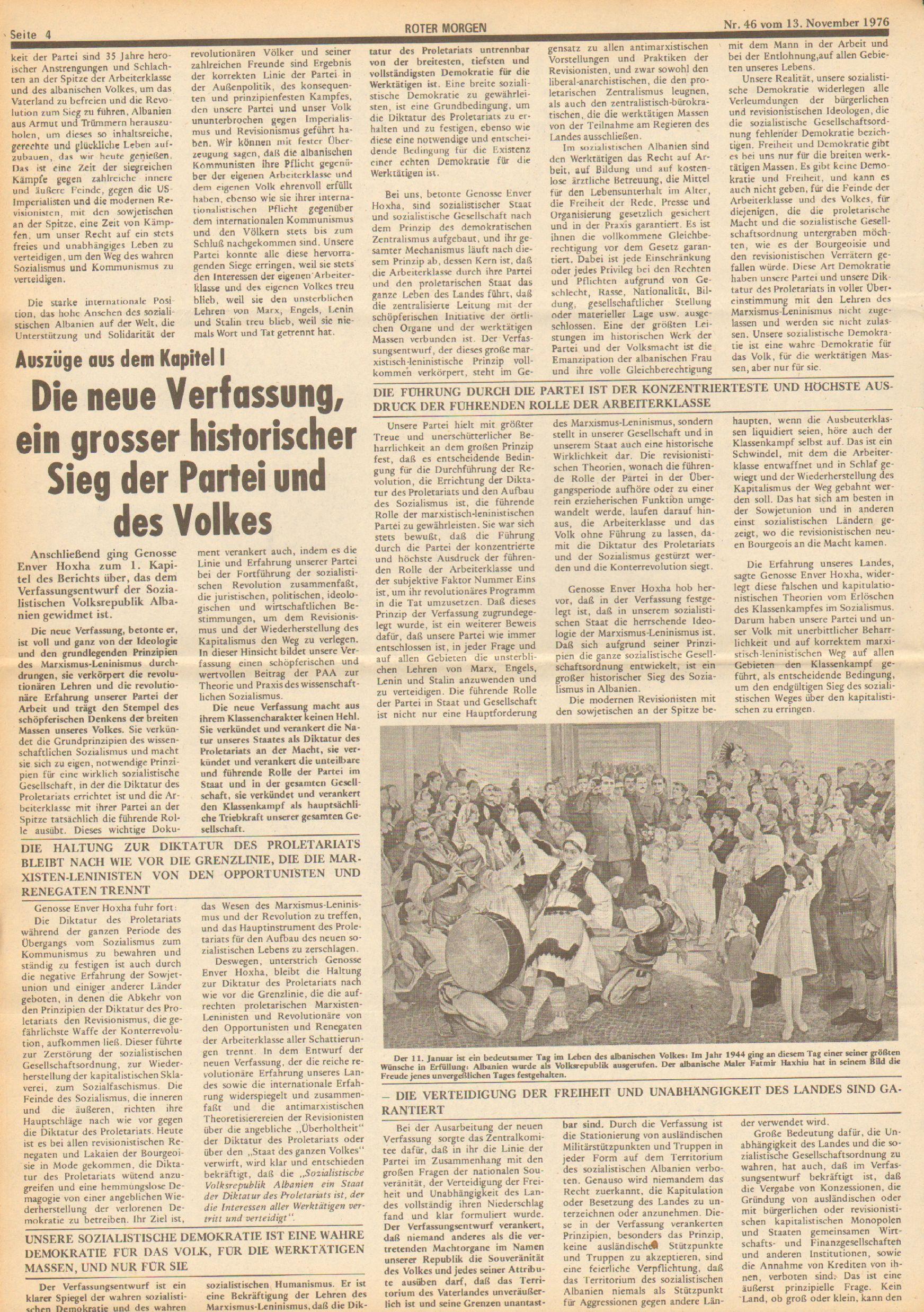 Roter Morgen, 10. Jg., 13. November 1976, Nr. 46, Seite 4