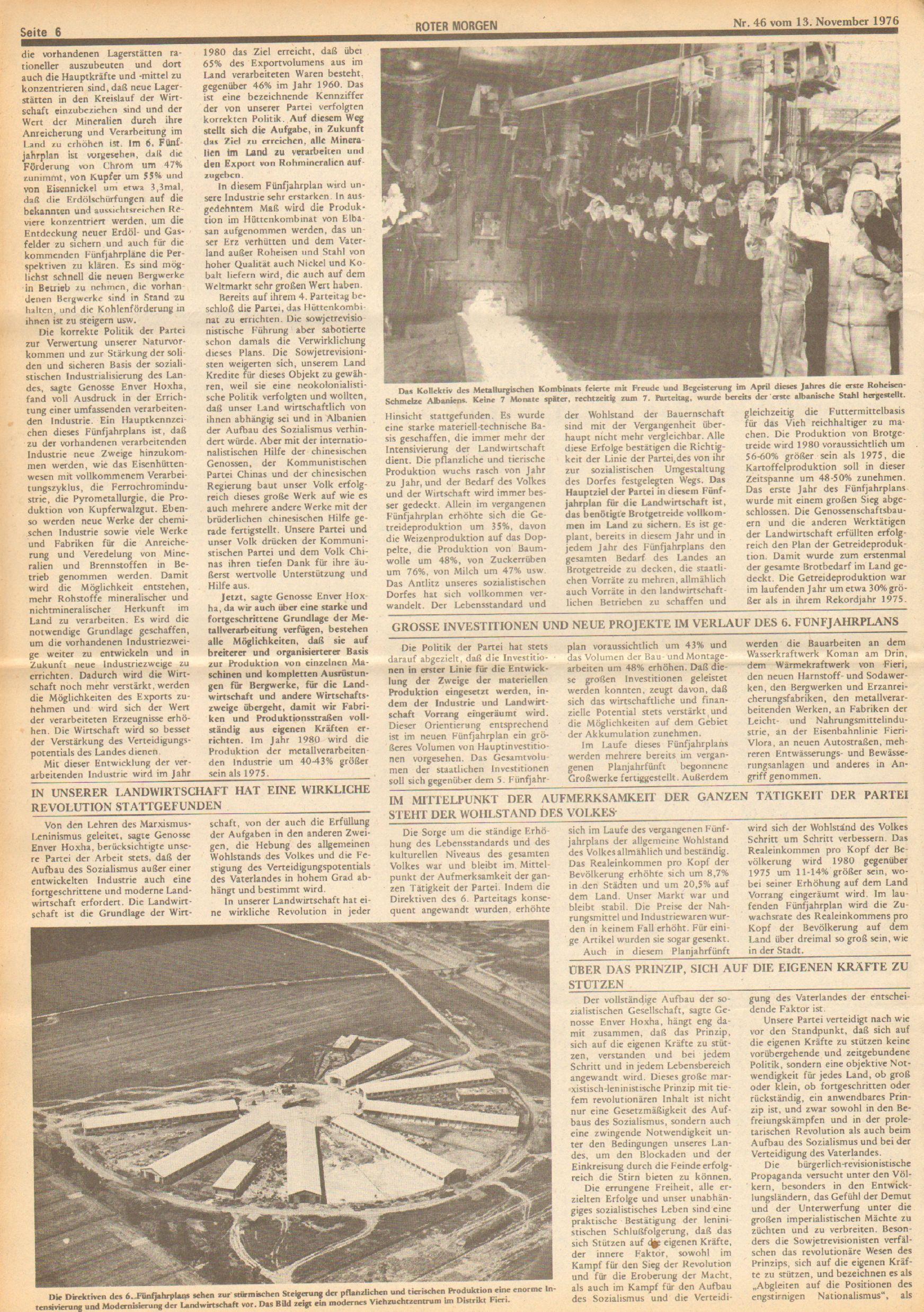 Roter Morgen, 10. Jg., 13. November 1976, Nr. 46, Seite 6