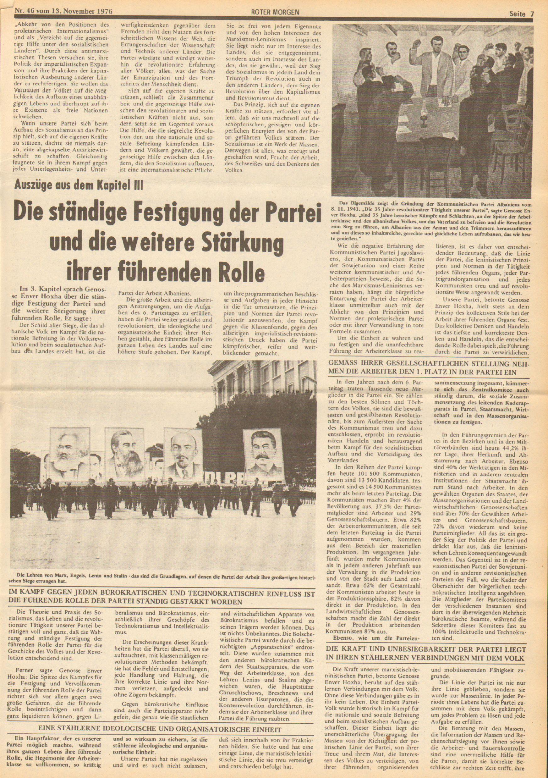Roter Morgen, 10. Jg., 13. November 1976, Nr. 46, Seite 7