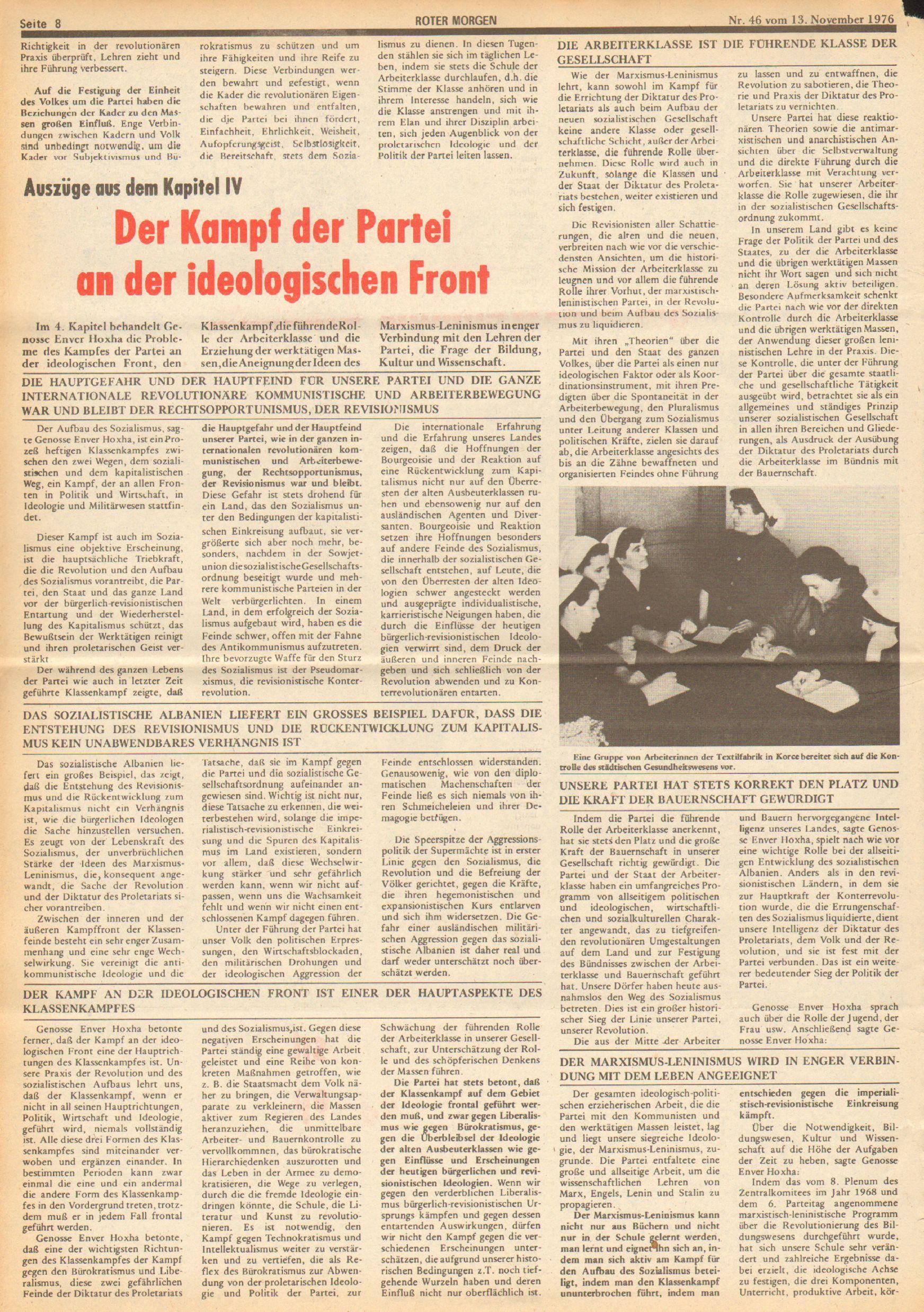 Roter Morgen, 10. Jg., 13. November 1976, Nr. 46, Seite 8