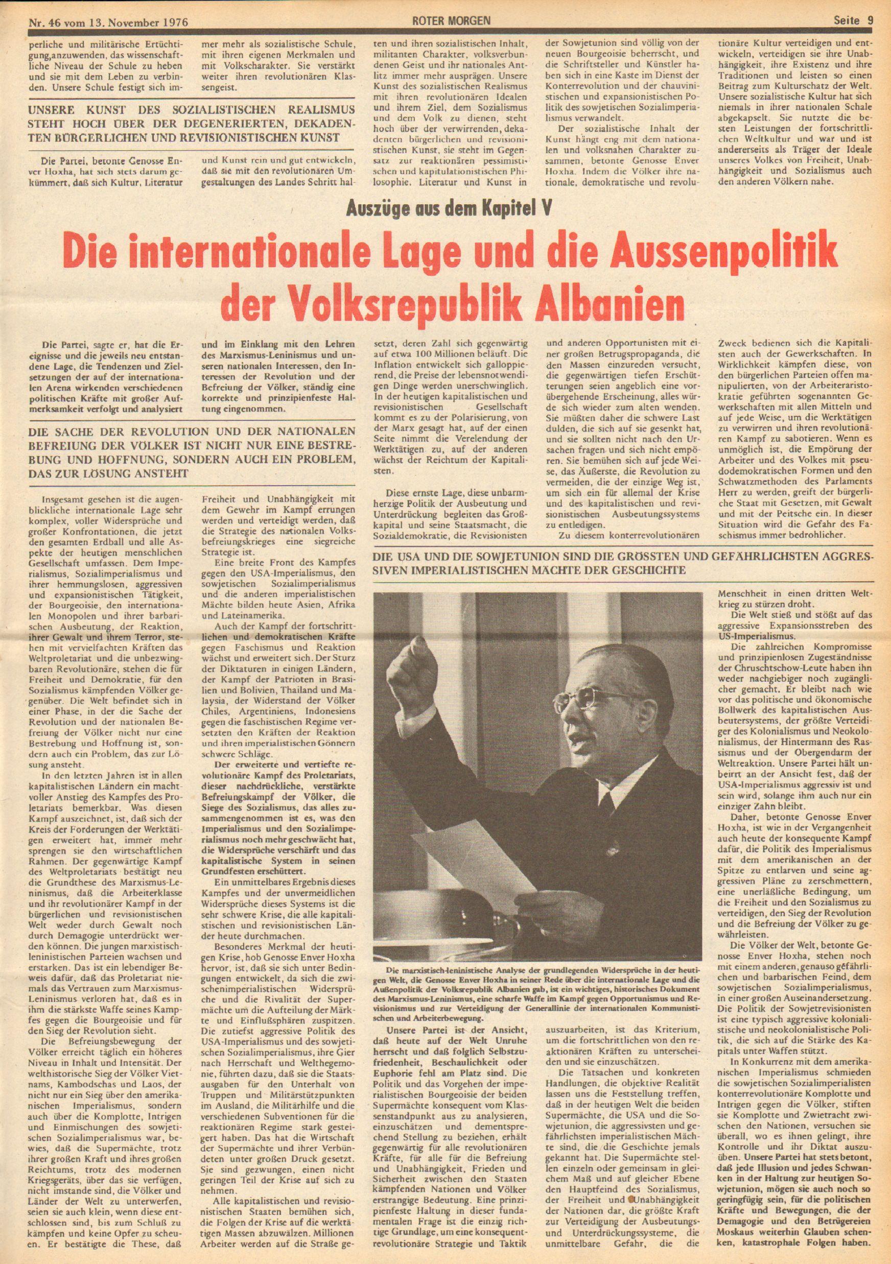 Roter Morgen, 10. Jg., 13. November 1976, Nr. 46, Seite 9