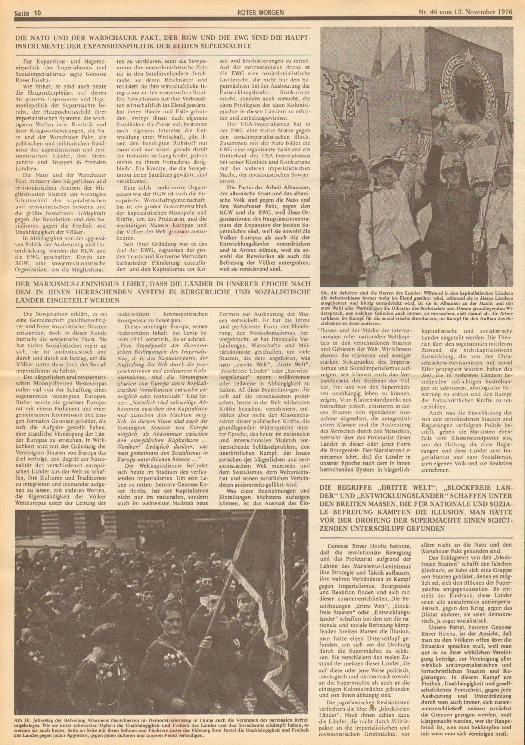 Roter Morgen, 10. Jg., 13. November 1976, Nr. 46, Seite 10