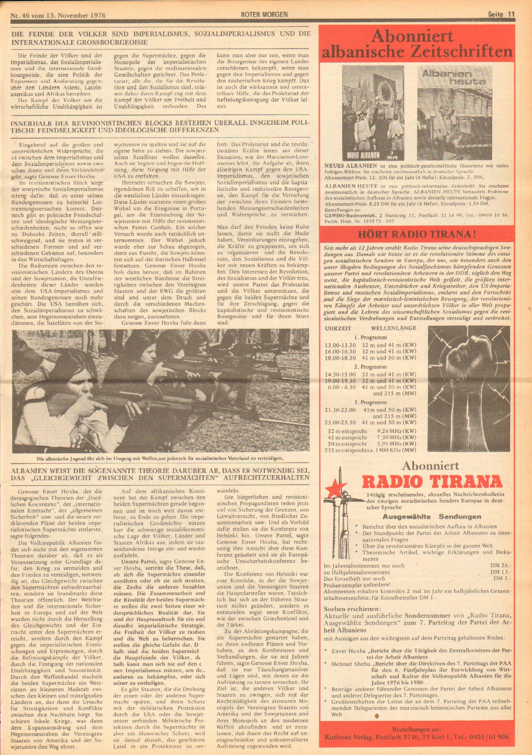 Roter Morgen, 10. Jg., 13. November 1976, Nr. 46, Seite 11